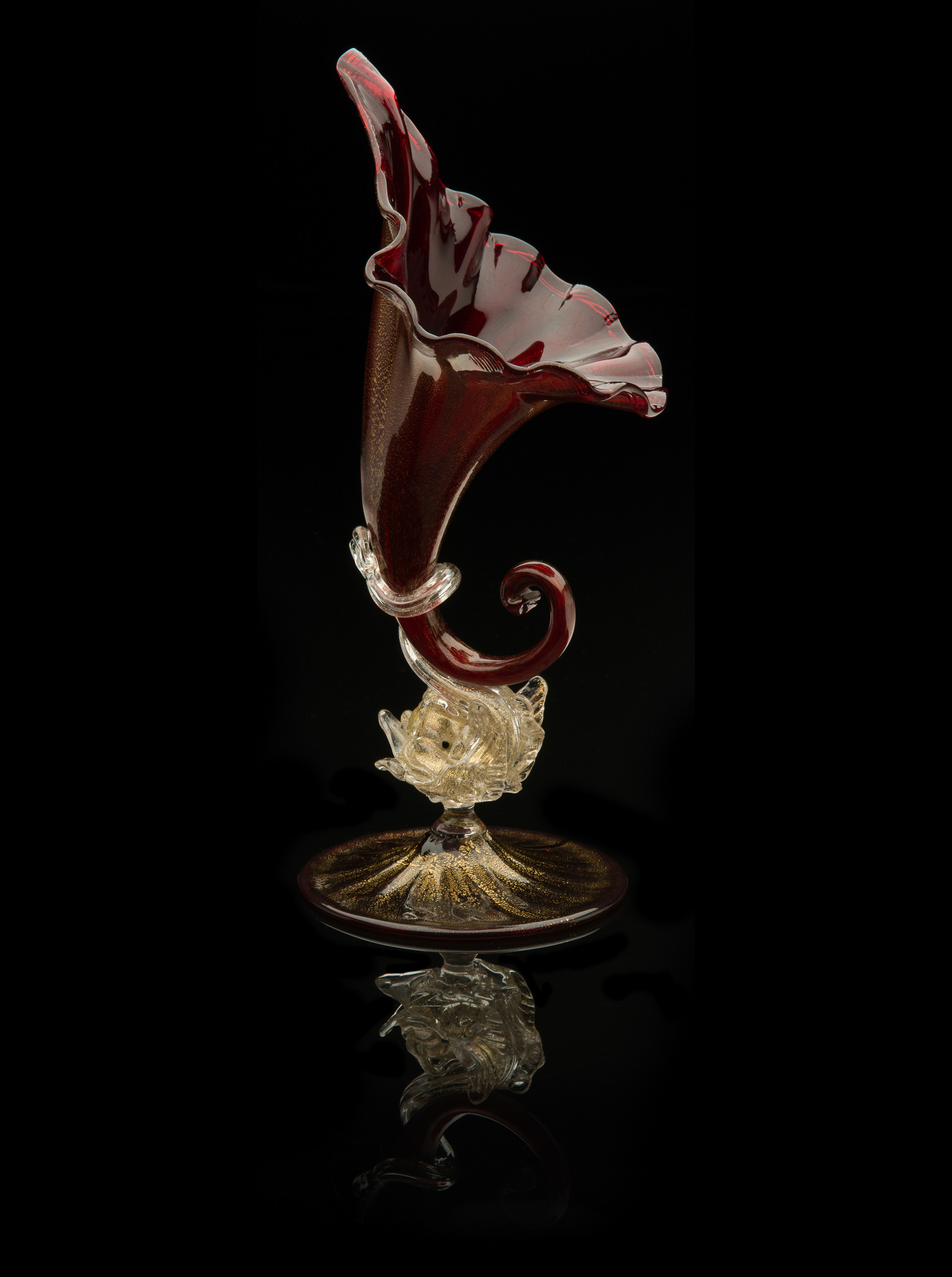 Salviati and Company, Ruby Red Venetian Horn of Plenty with Dolphin Stem and Twisted Tail (1864-1870, glass, 11 1/2 x 4 1/2inches), VV.524