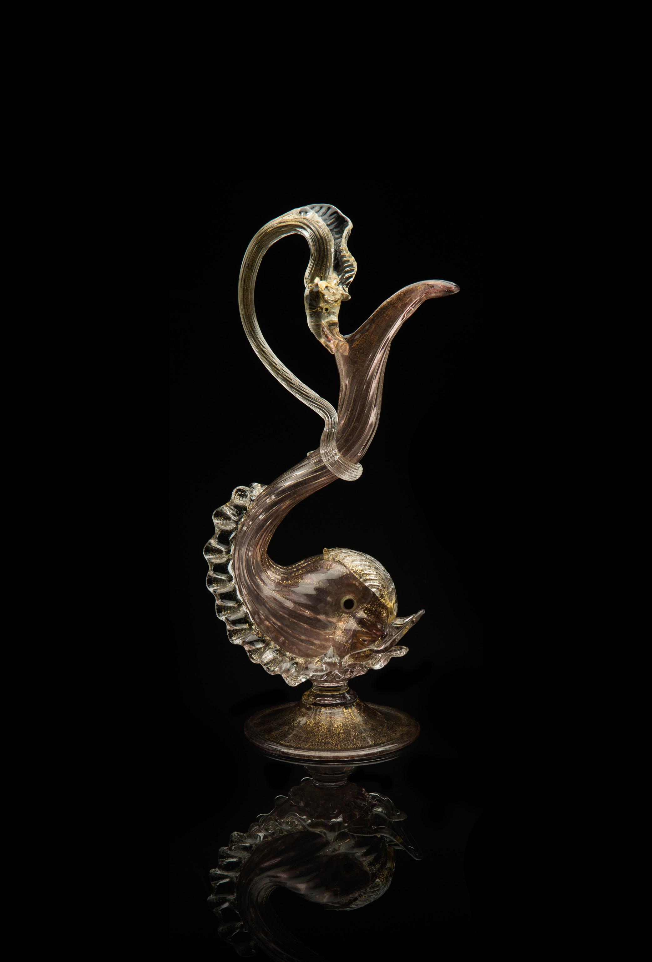 Unknown Venetian, Mauve Dolphin Serpent Ewer (glass), VV.426