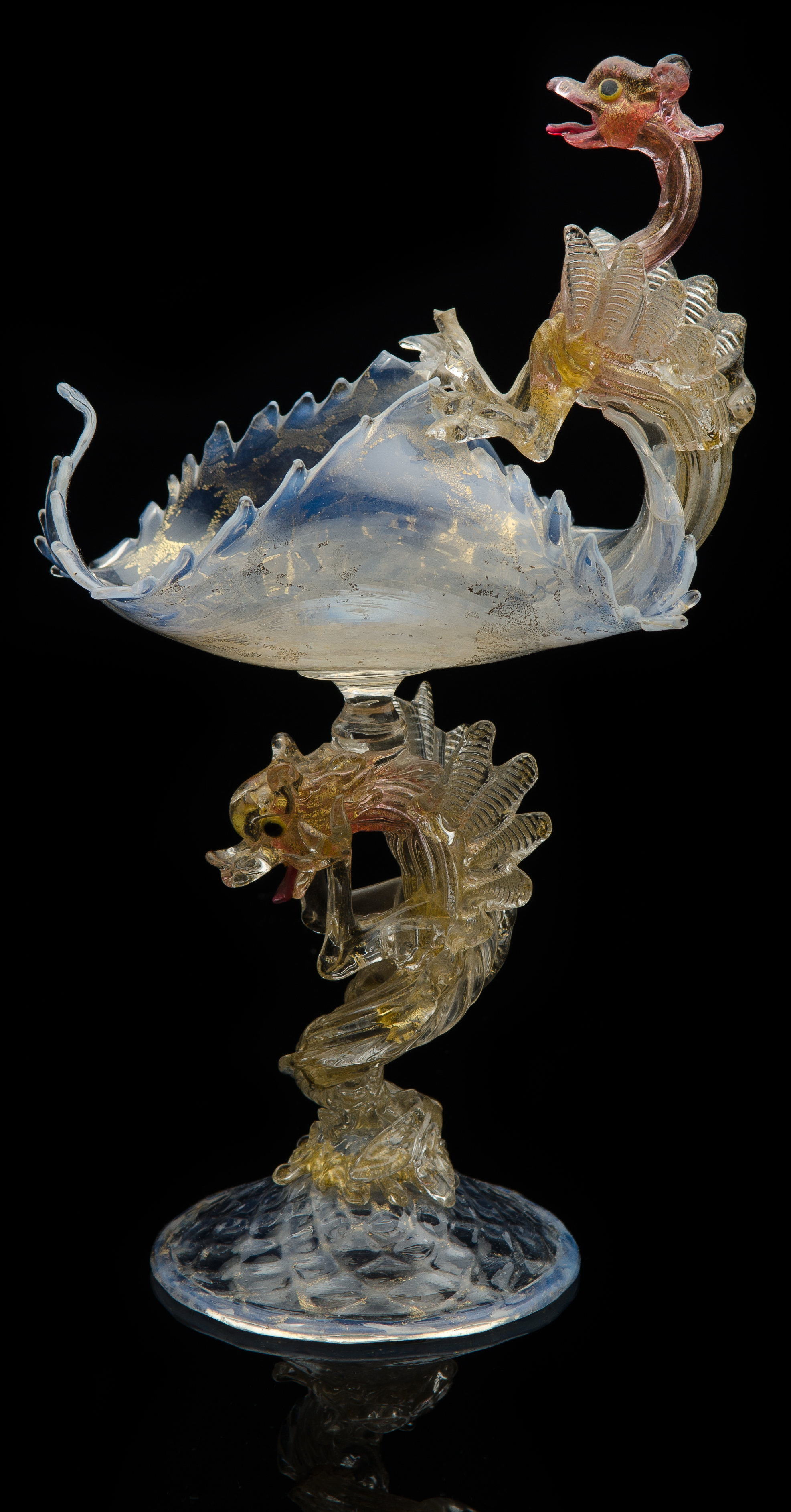 Fratelli Toso,  Opalescent Vase with Two Dog-Headed Dragons of St. George  (circa 1895, glass, 11 inches), VV.154