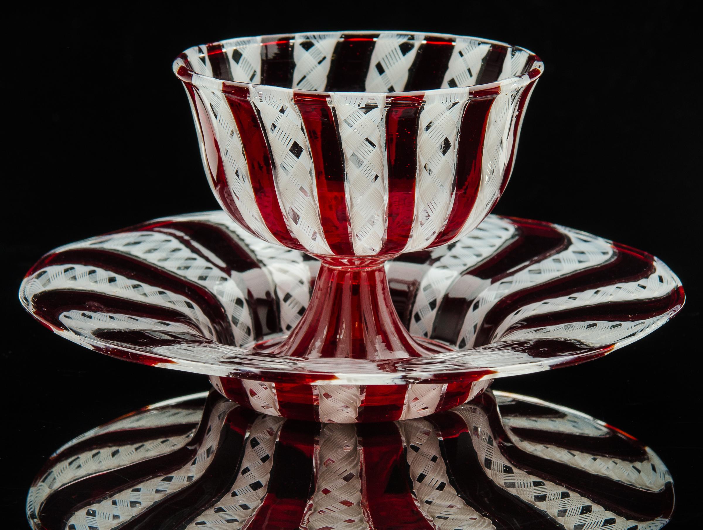 Salviati and Company,  Red Vetro a Retorti Sherbert Glass and Plate  (circa 1885, glass, 3 inches), VV.270