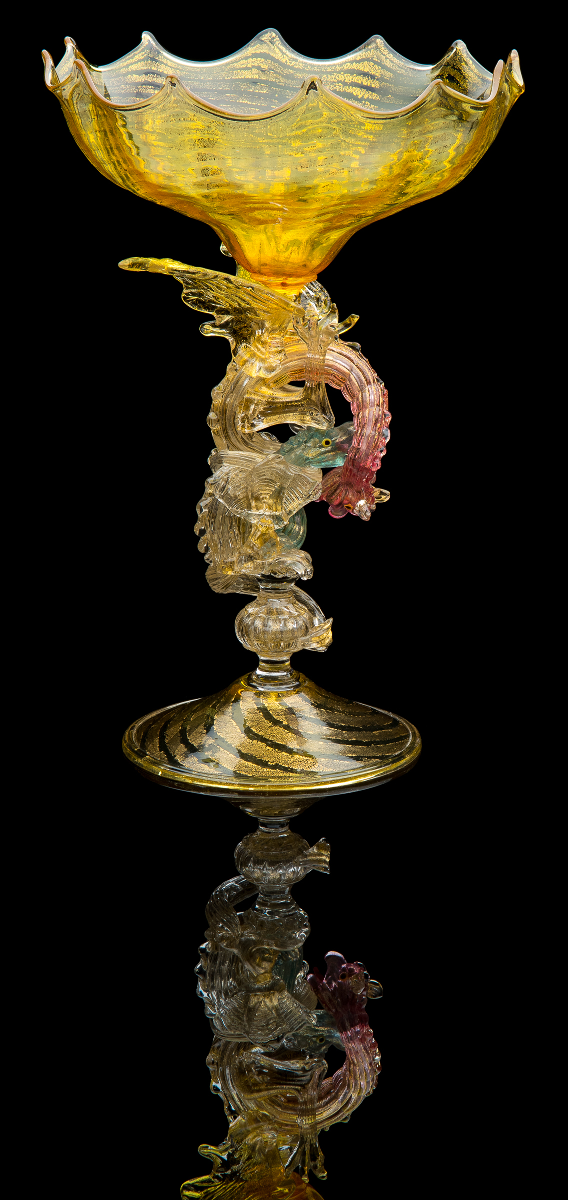 Giulio Salviati   Yellow Spiral Compote with Two Fighting Dragon  (circa 1892, glass, 12 inches), VV.865