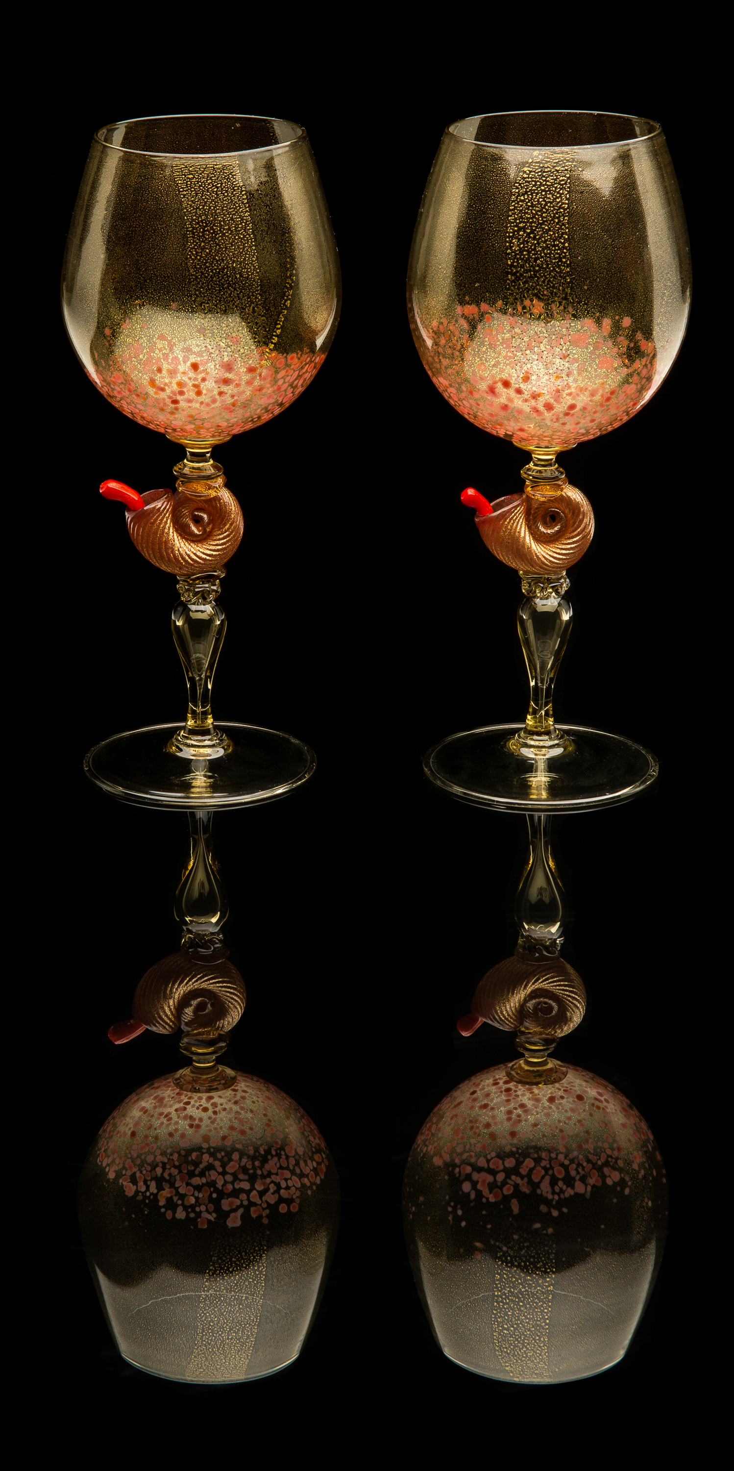 Unknown,  Pair of Goblets with Nautilus Shell Stems  (circa 1920, glass, 9.5 inches), VV.772