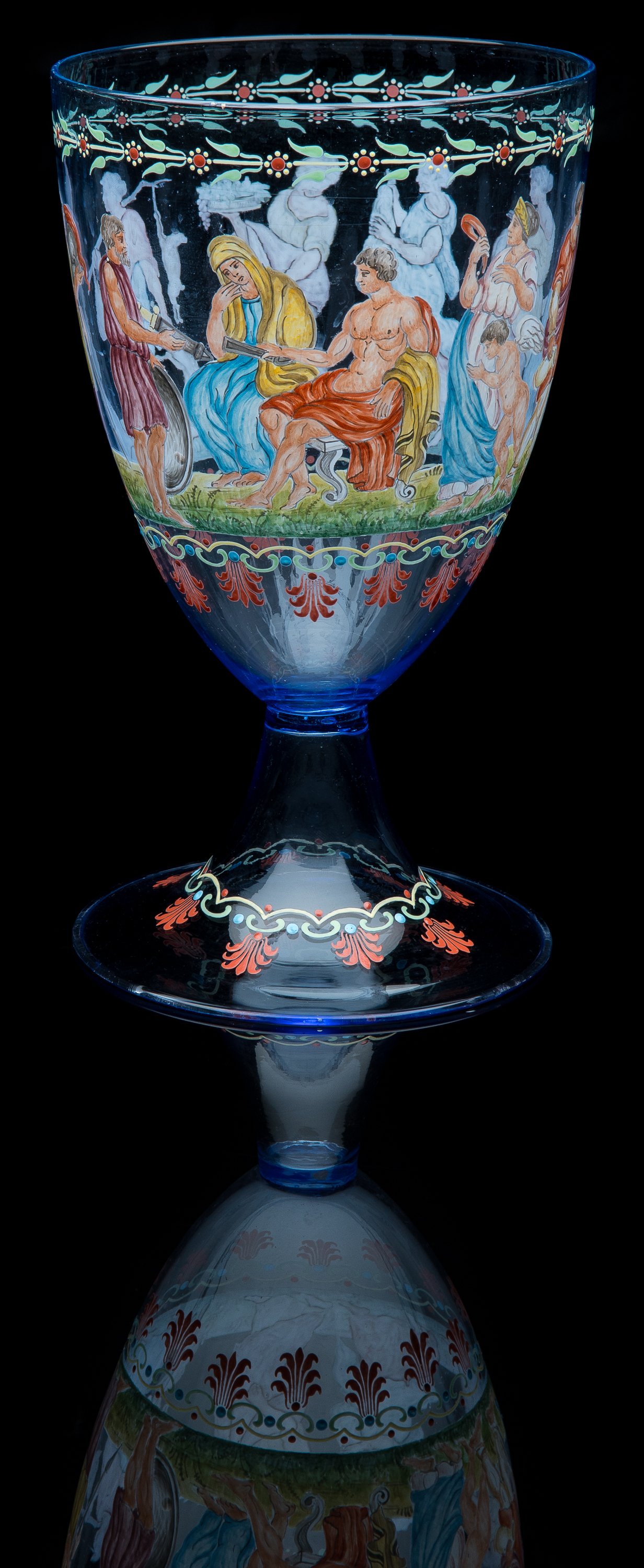 Unknown,  Oversized Enamel Chalice Depicting Royal Offering Parade  (glass, 10.25 inches), VV.1012