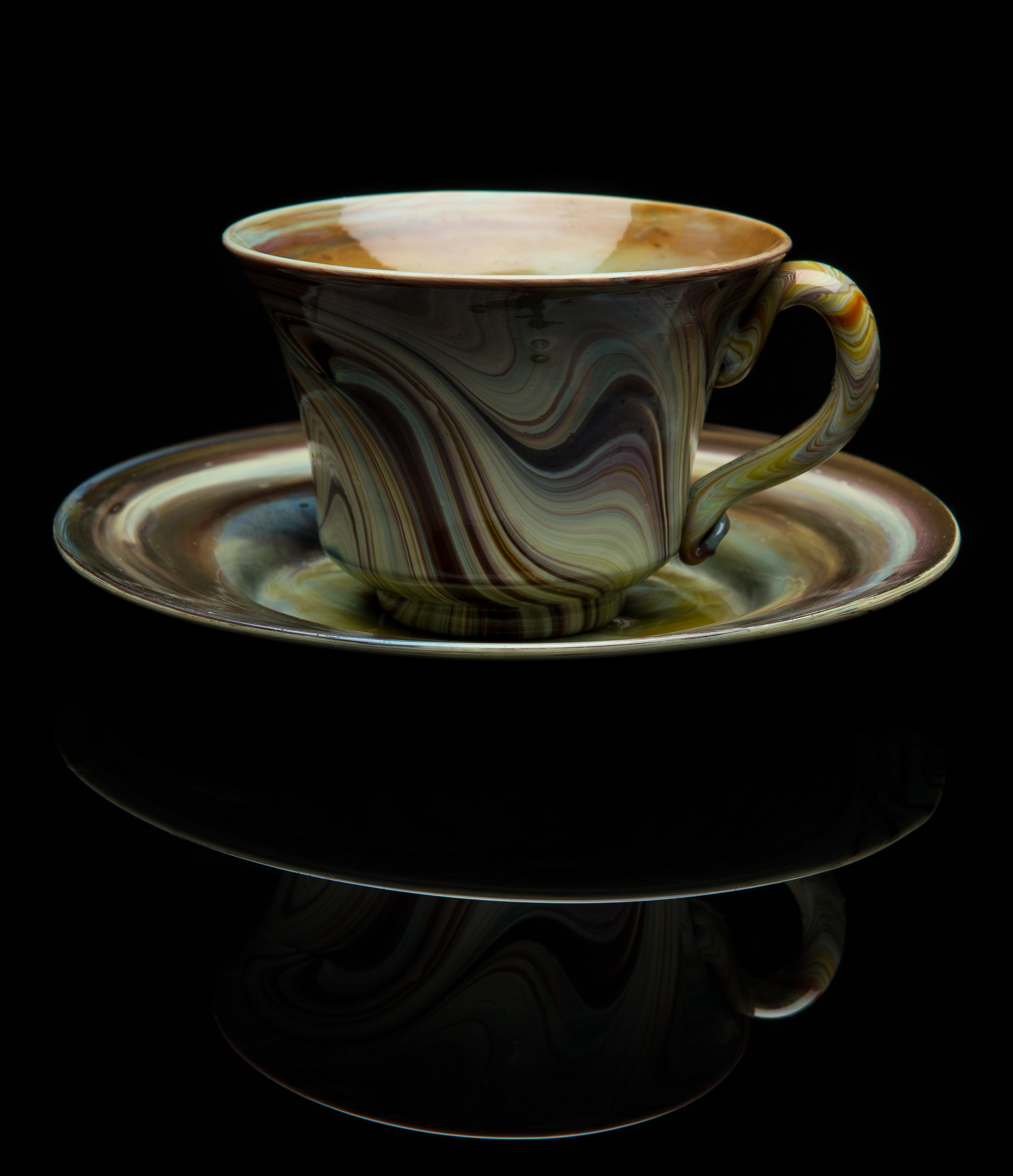 Unknown,  Brown Chalcedony Teacup and Saucer  (circa 1990, glass, 2.5 inches), VV.1021