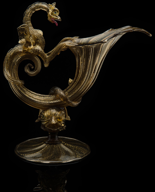Artisti Barovier,  Gold Cornucopia with Dragon and Sea Serpent Stem  (circa 1895, glass, 8.25 inches), VV.149