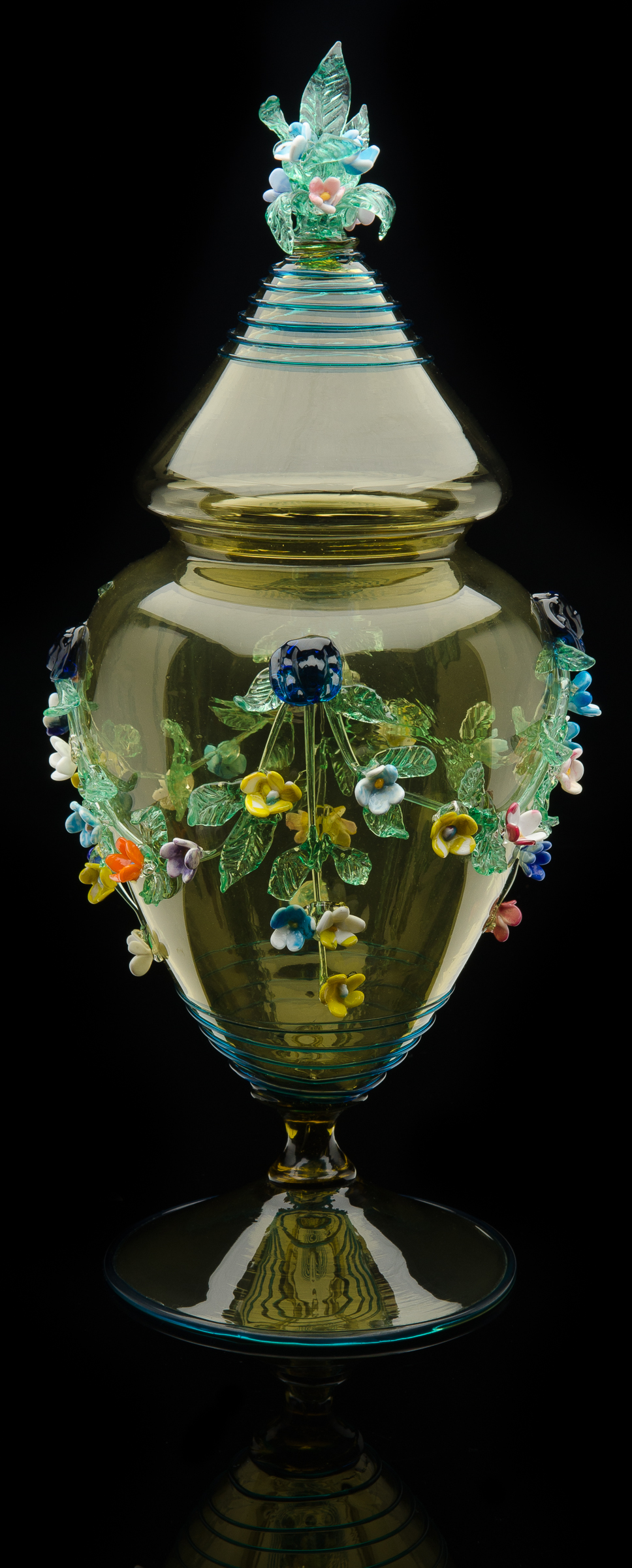 Artisti Barovier,  Green Smoke Lidded Urn with Applied Flowers  (circa 1895, glass, 15 inches), VV.295