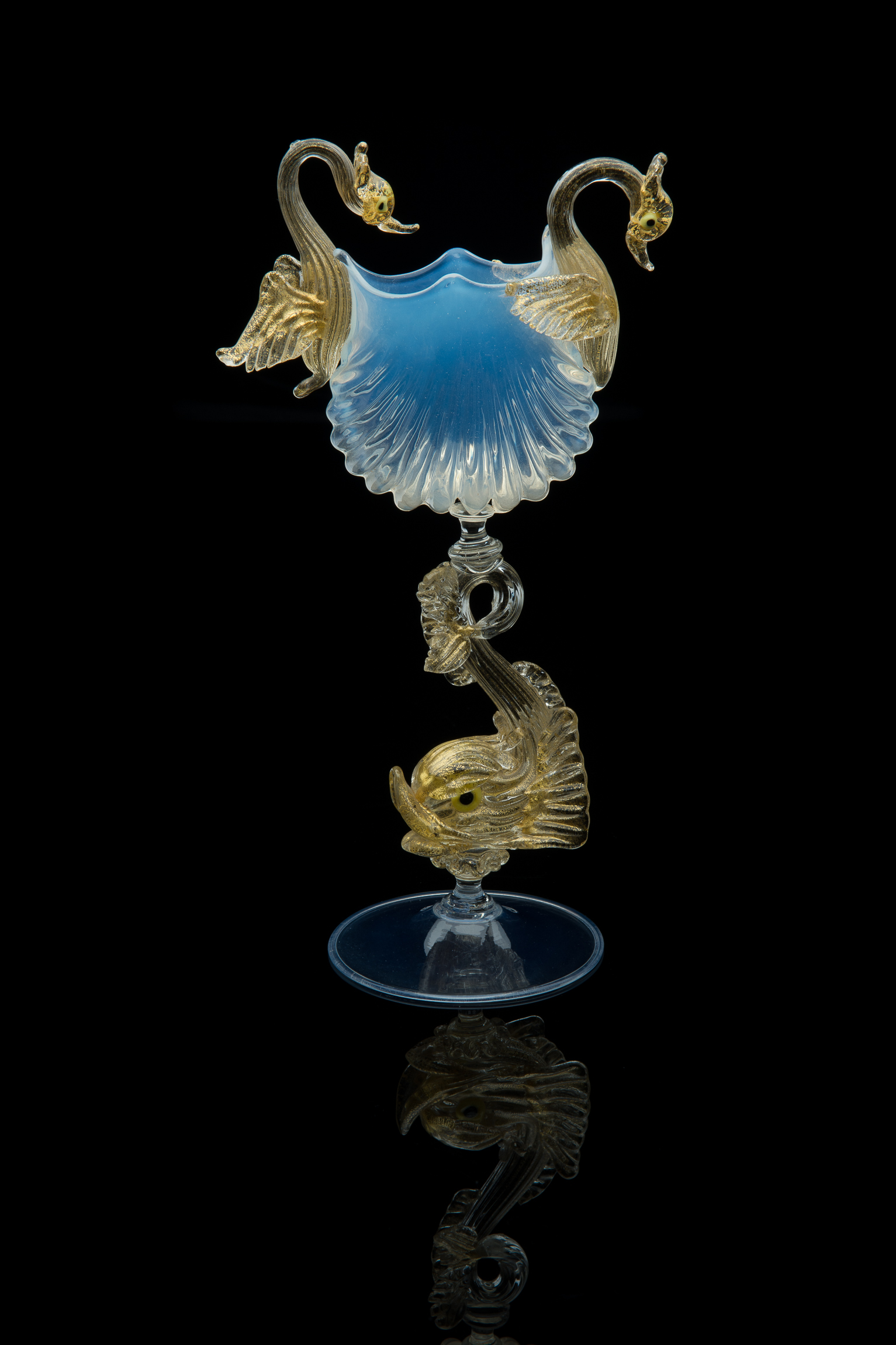 Unknown,  Scallop Shell Article with Dolphin Stem  (glass, 10.5 inches), VV.409