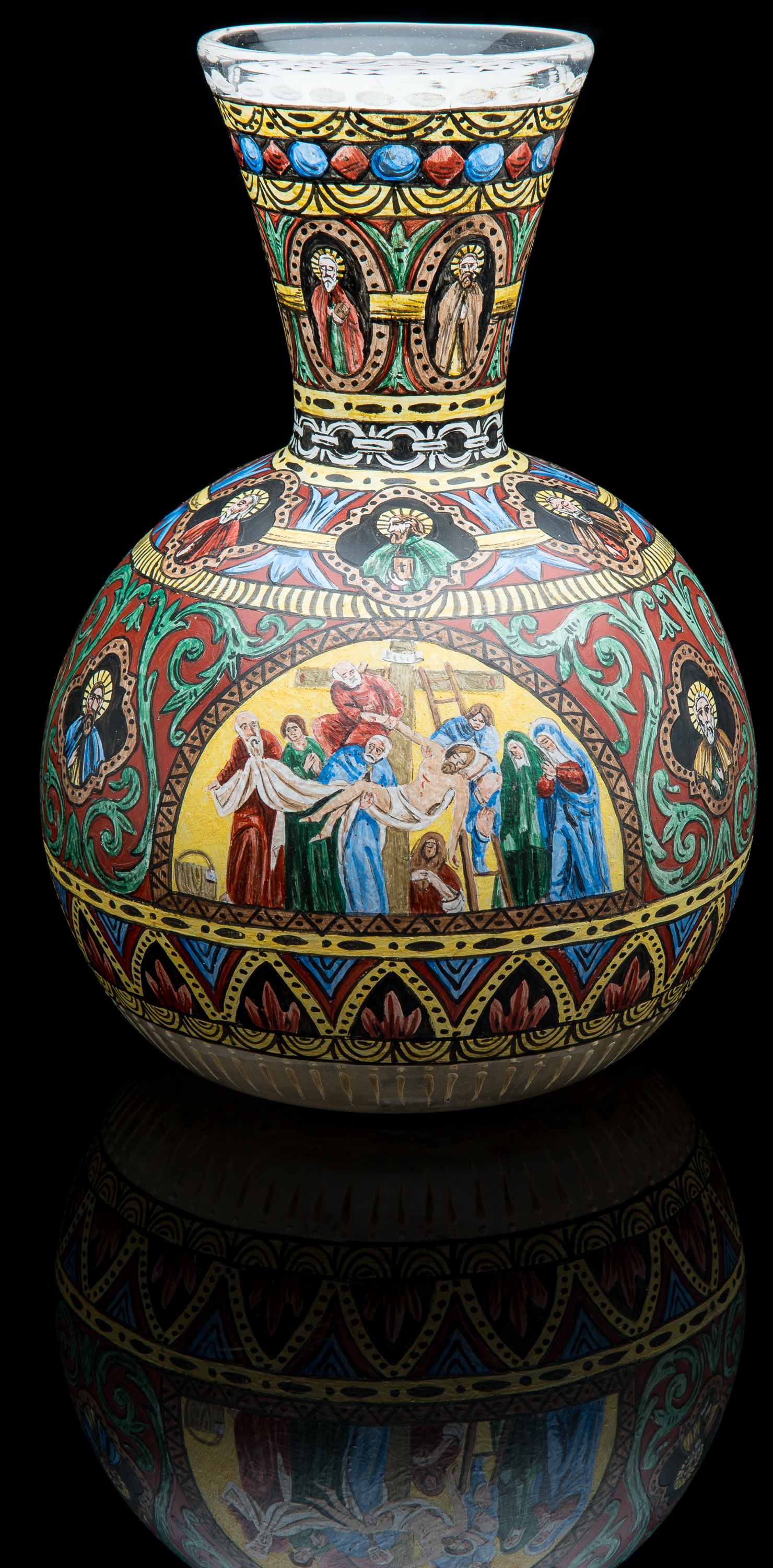 Unknown,  Colorless Vase Painted with Scenes from the Life of Christ  (circa 1885, glass, 11.25 inches), VV.1013
