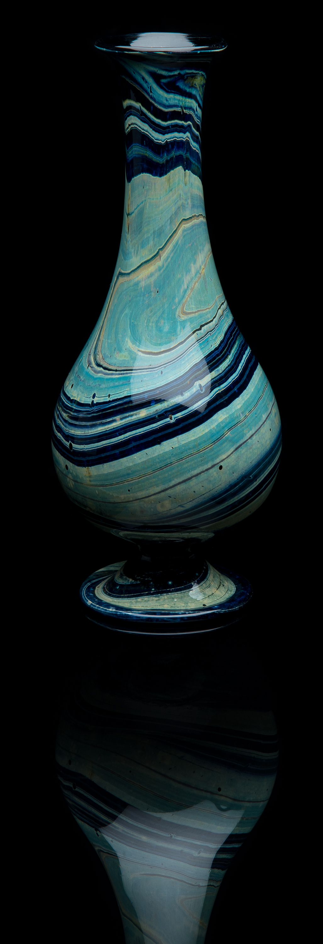 Unknown,  Blue Chalcedony Vase  (circa 1900, glass, 10 inches), VV.1021