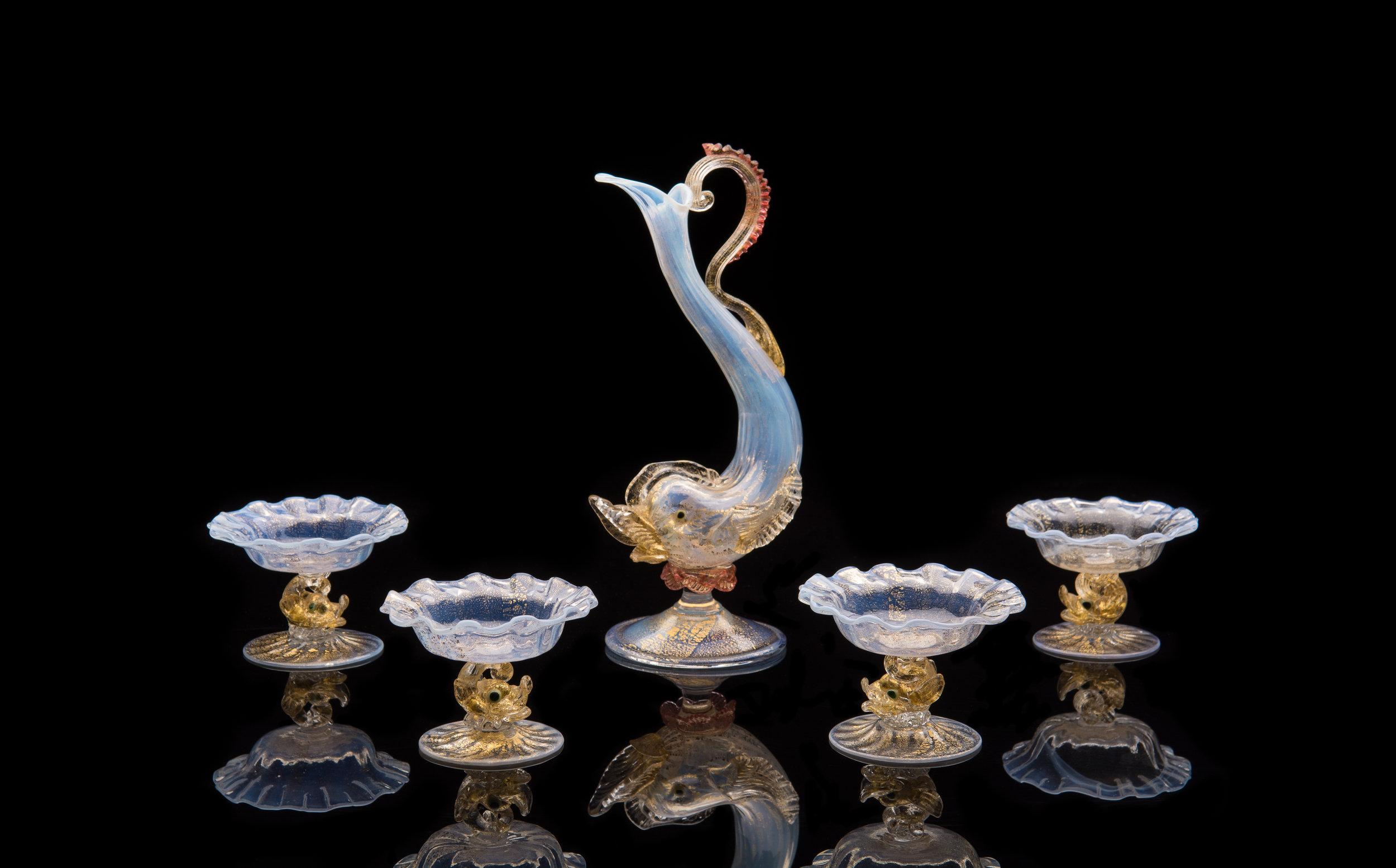 Salviati and Company,  Girasol Dolphin Salt Dishes  (circa 1870, glass, 2.25 inches), VV.197