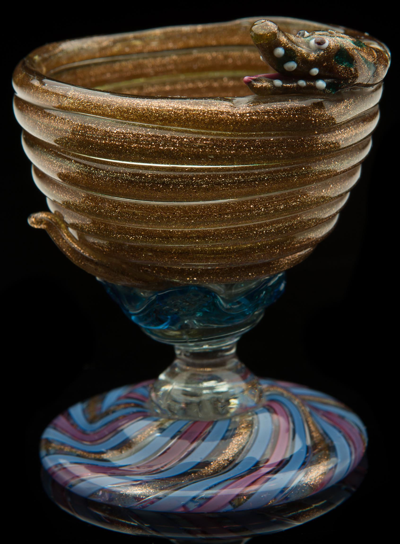 Barovier for Salviati,  Serpent Cup  (circa 1870, glass, 2 15/16 inches), VV.486