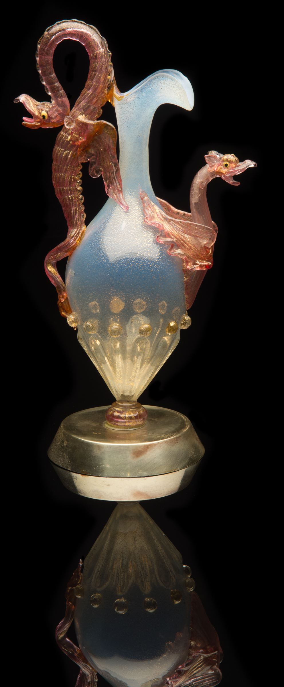 Salviati and Company,  Opalescent Double Dragon Ewer  (glass, 9 3/4 inches), VV.726