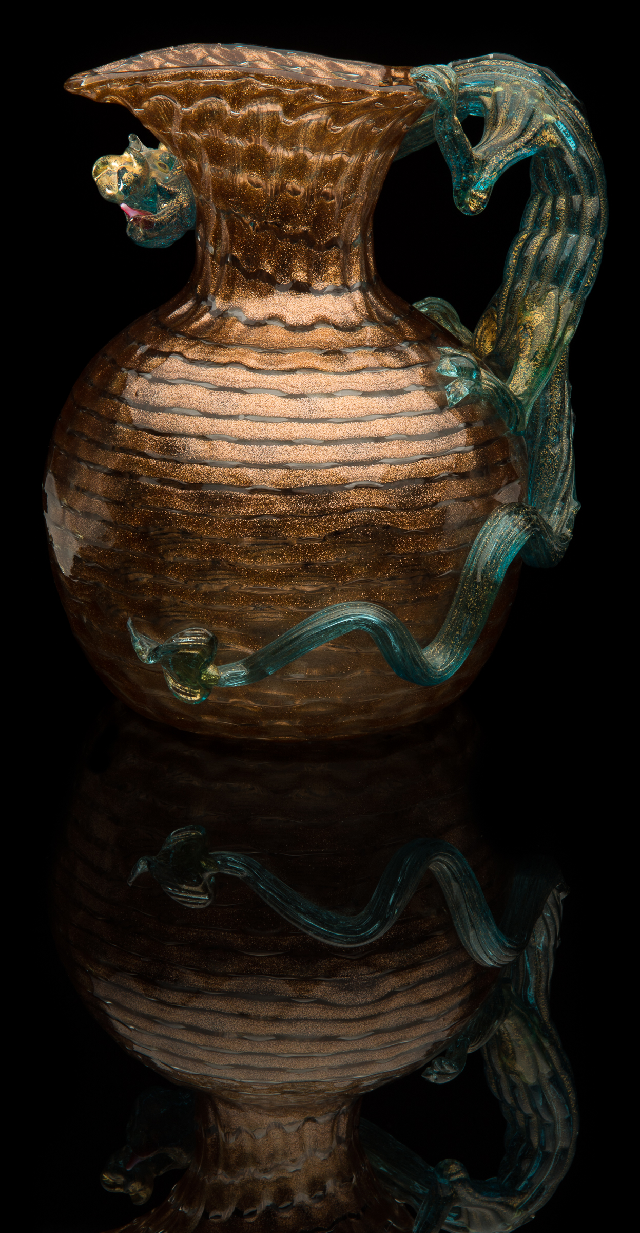 Artisti Barovier,  Vetro a Fili Aventurina Pitcher  (circa 1895, glass, 8 inches), VV.727