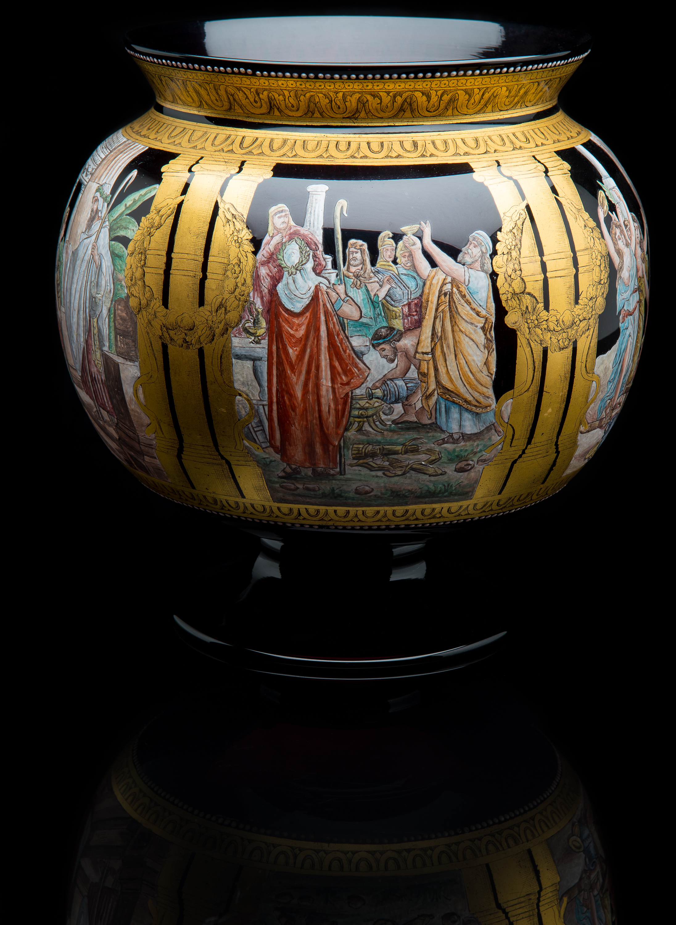 Unknown,  Amethyst Pedestal Bowl with Enameled Classic Scenes  (glass, 9.5 inches), VV.1018