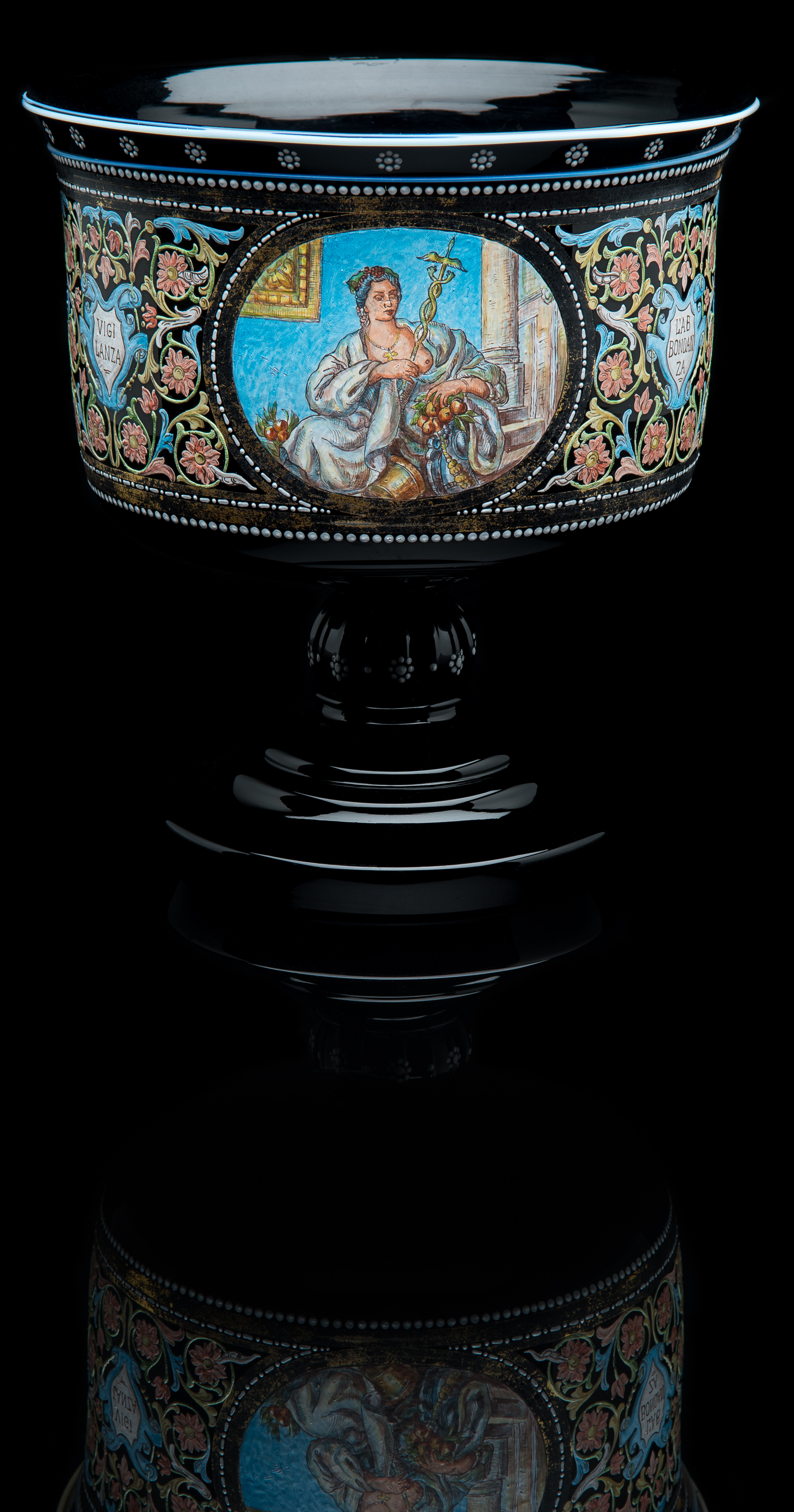 Unknown,  Amethyst Pedestal Bowl with Enameled Neoclassical Women  (glass, 7.5 inches), VV.1024