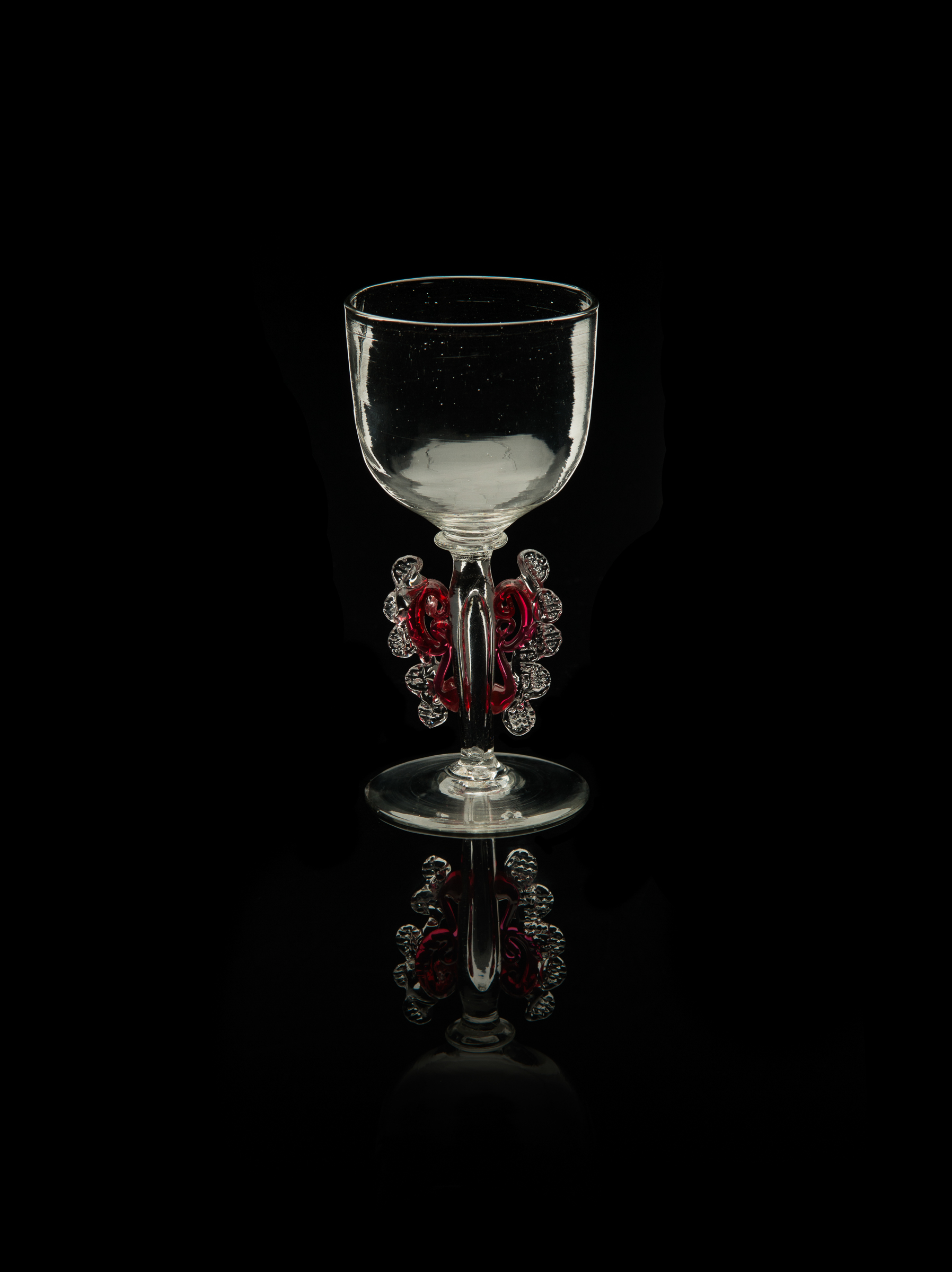 Unknown,  Sherry Glass with Ruby and Crystal Morise on Stem  (glass, 4 5/16 inches), VV.612