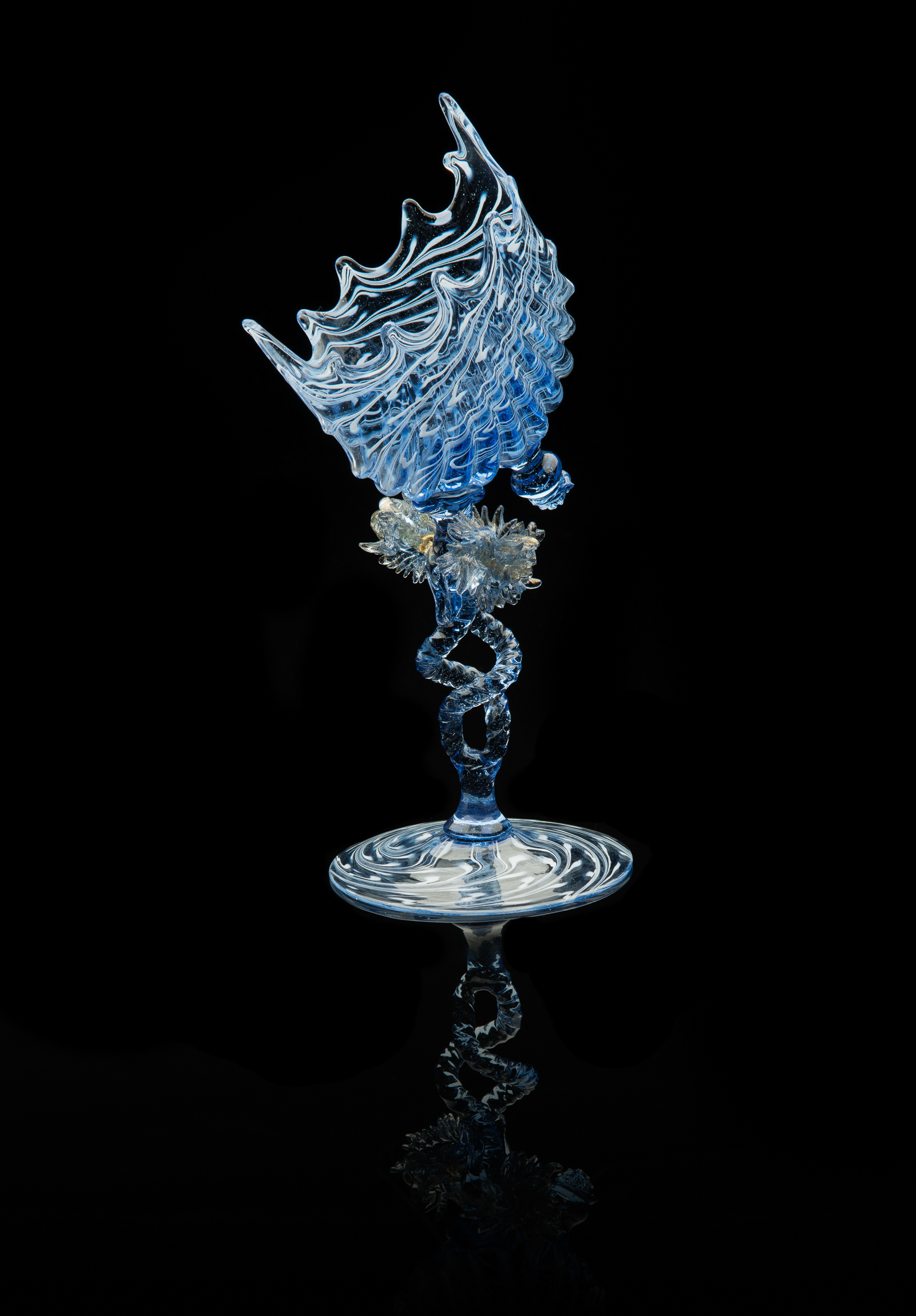 Salviati and Company,  Offset Scallop Shell Card Holder with Double Helix Stem  (glass, 9 inches), VV.558