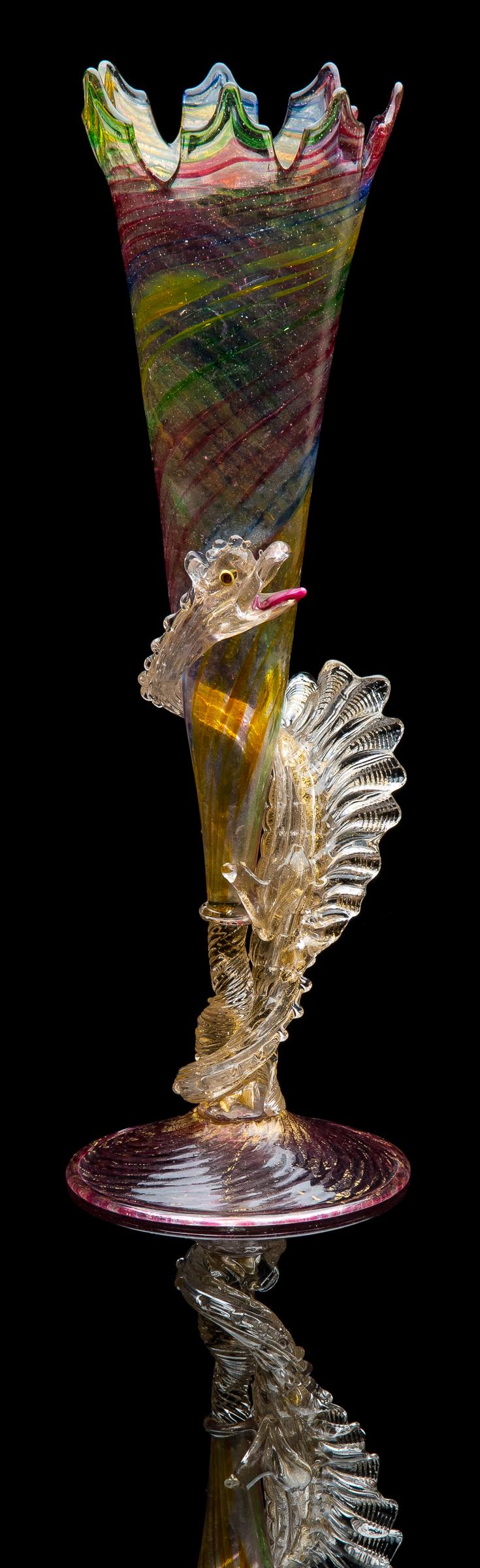 Artisti Barovier for Salviati,  Multicolored Flute with Polveri Dragon Stem  (circa 1896, glass, 15 inches), VV.831