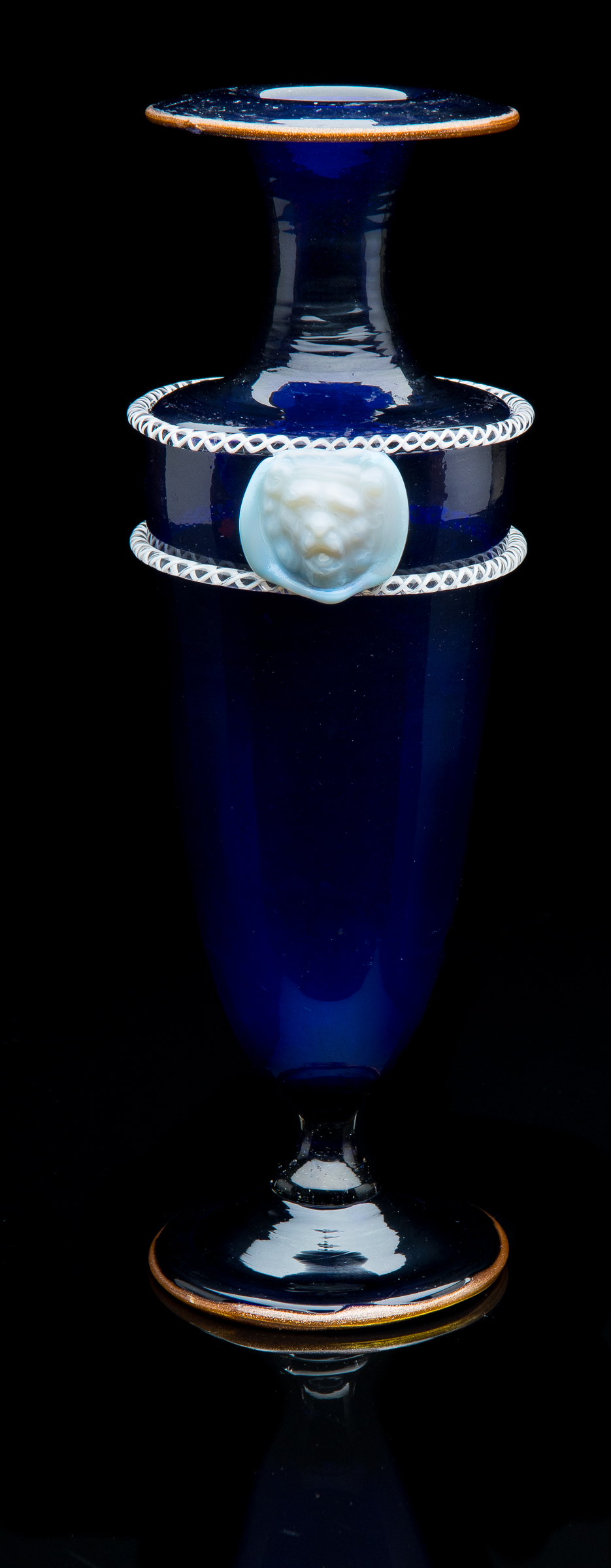 Salviati and Company,  Cobalt Blue Vase with White Lion Head Masks and Applied Trailing  (1866, glass, 10.75 inches), VV.864