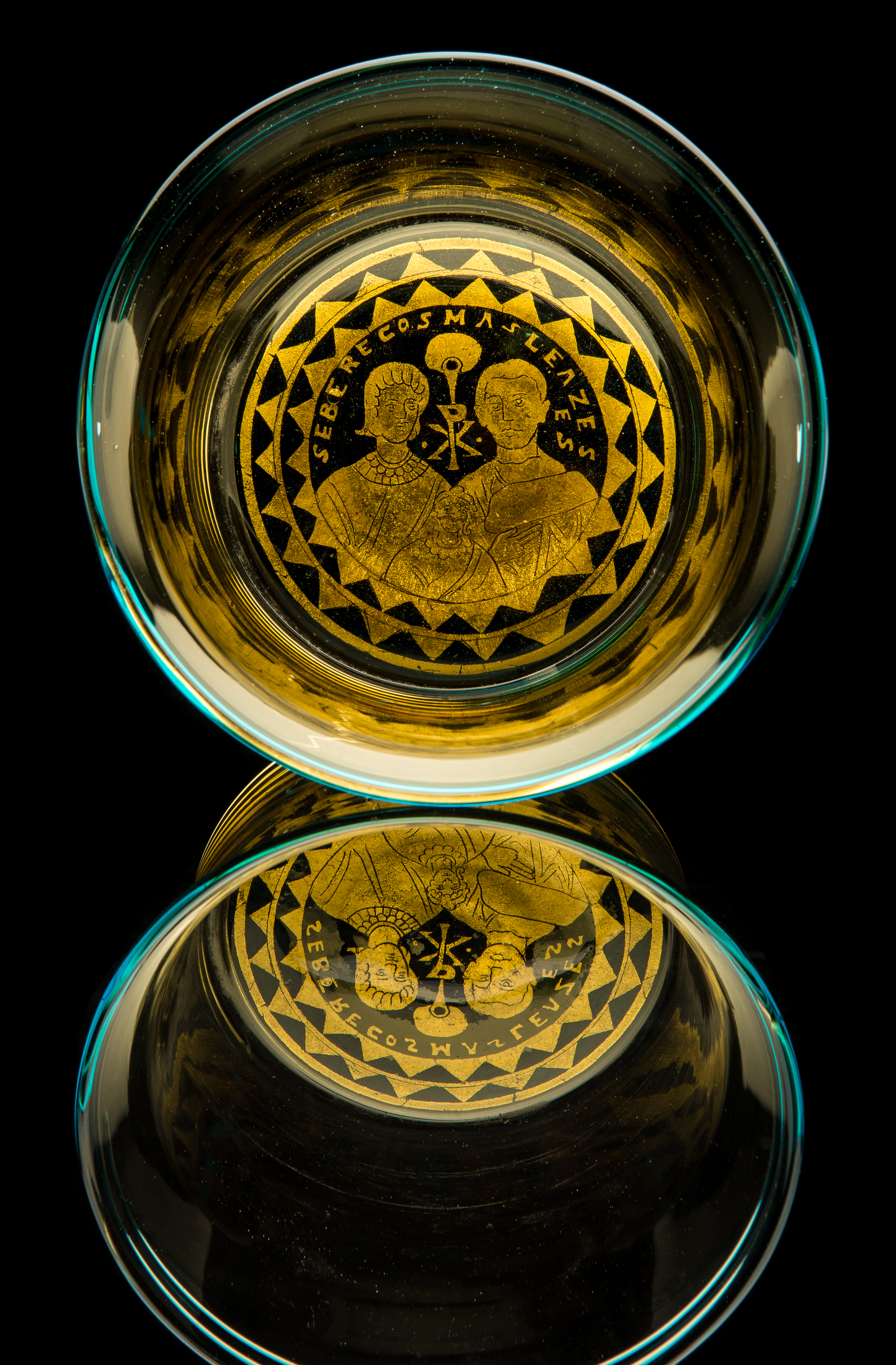 Fratelli Toso,  Gold Glass Barovier Blue Rim and Base  (circa 1878, glass, 5 inches), VV.765