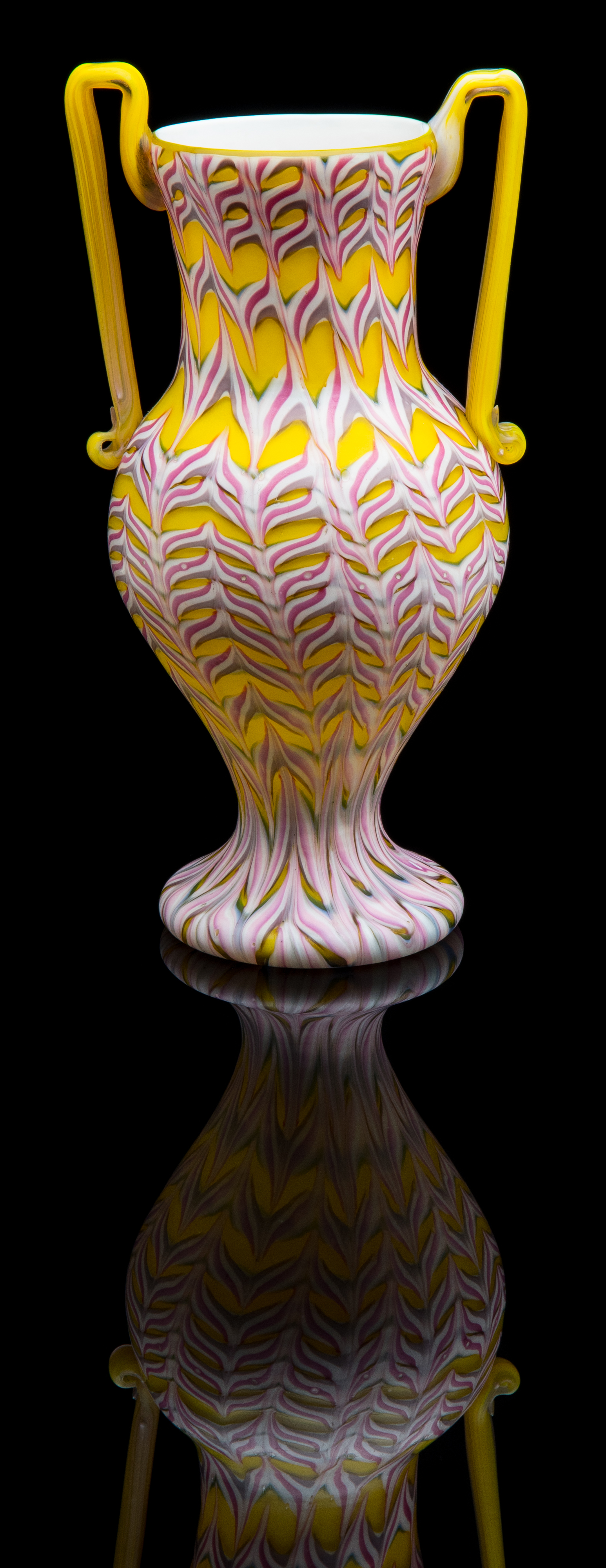 Fratelli Toso,  Yellow, Pink and White Fenicio Double Handled Vase  (1910, glass), VV.866