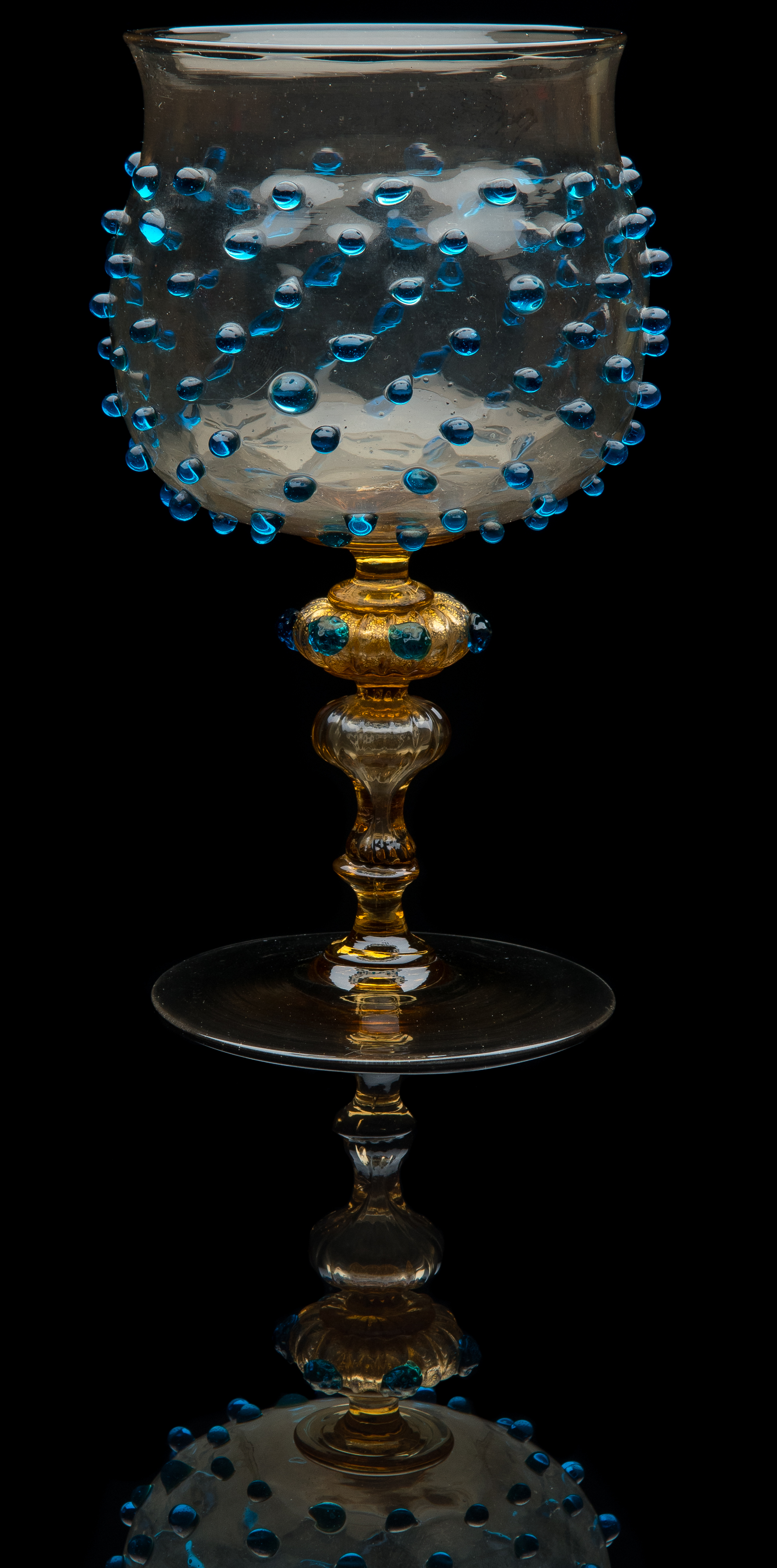 Salviati and Company,  Amber Goblet with Applied Blue Beads and Hollow Stem  (glass, 8 1/8 inches), VV.880