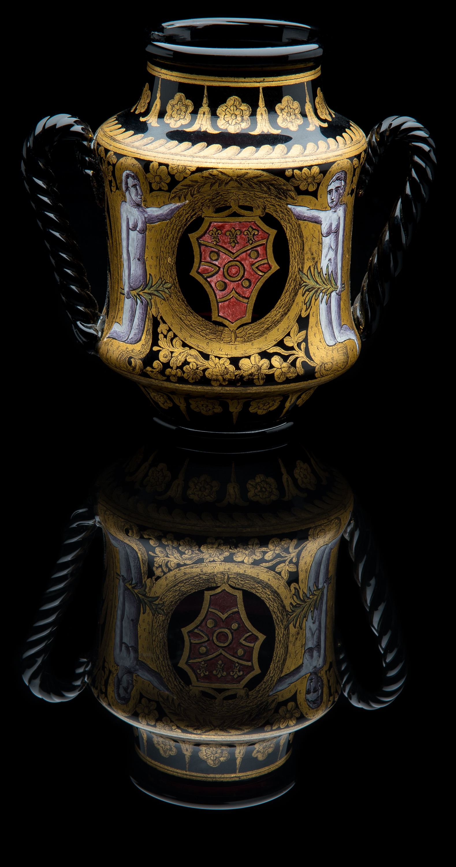 Unknown,  Amethyst Handled Jar with Enamel and Gilt  (glass, 5.25 inches), VV.1015