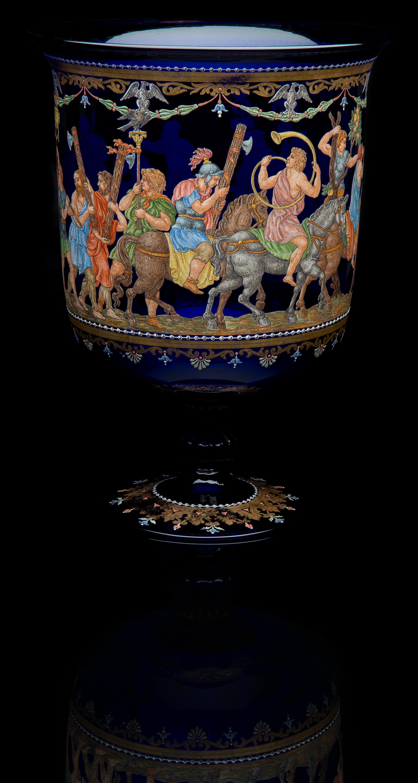 Unknown Venetian,  Cobalt Blue Enameled Pedestal Vase Depicting Roman Procession  (glass, 14.5 inches), VV.1029