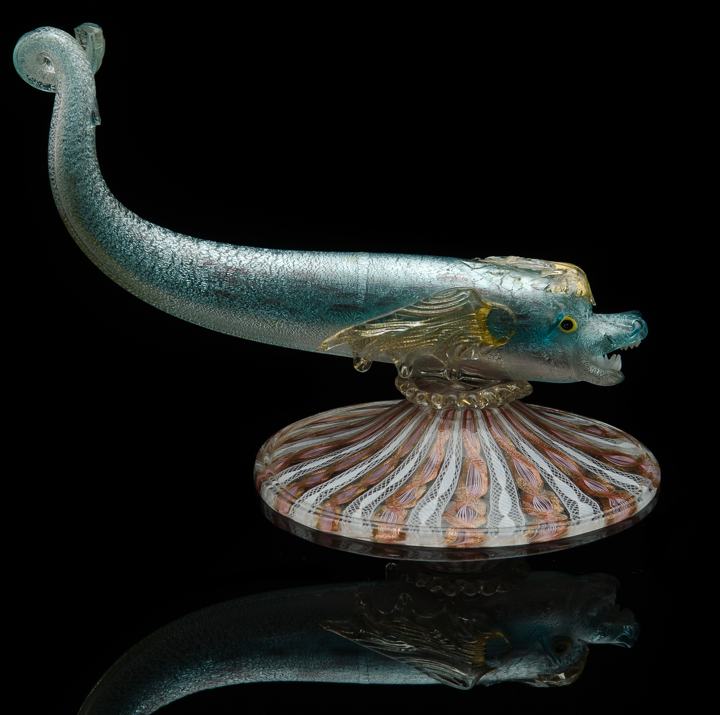 Salviati and Company,  Mythological Fish with Teeth on Vetro a Retorti Base  (1880, glass, 6 inches), VV.90