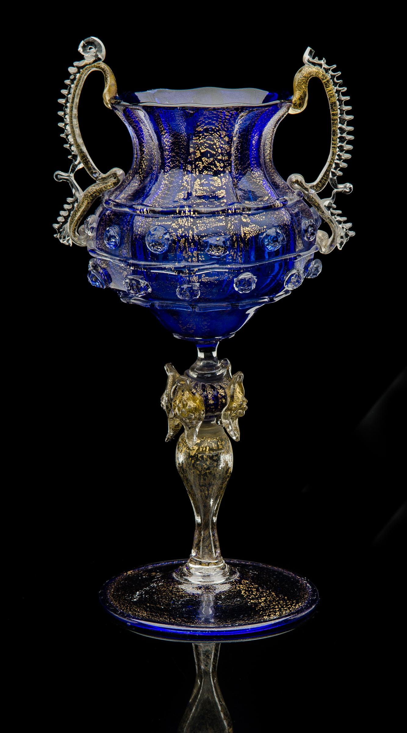 Fratelli Toso,  Cobalt Blue Double Handled Vase with Aventurine  (1885, glass, 7.5 inches), VV.209