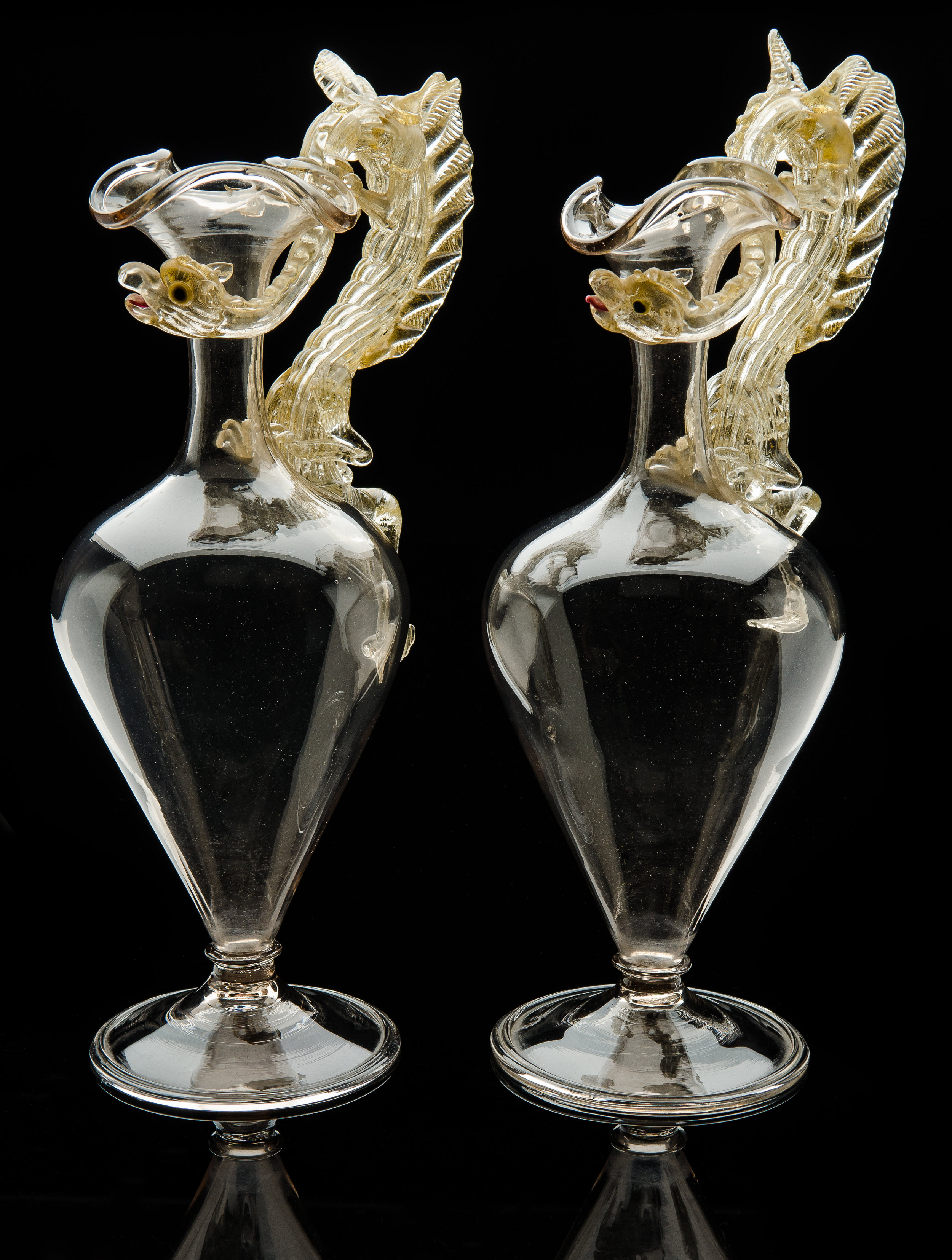 Salviati and Company,  Pair of Dragon Handled Ewers  (1880, glass, 14.75 inches), VV.117