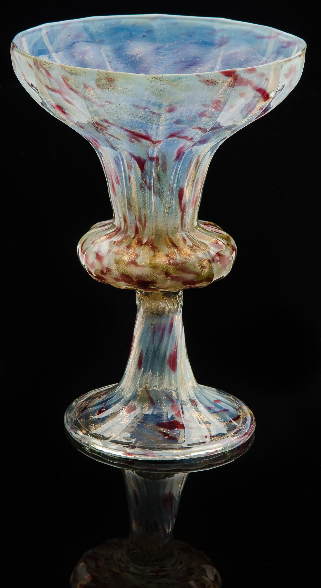 Societa Anonima per Salviati,  Opalescent Goblet with Ribbed Bowl  (1866, glass, 7 1/16 inches), VV.333