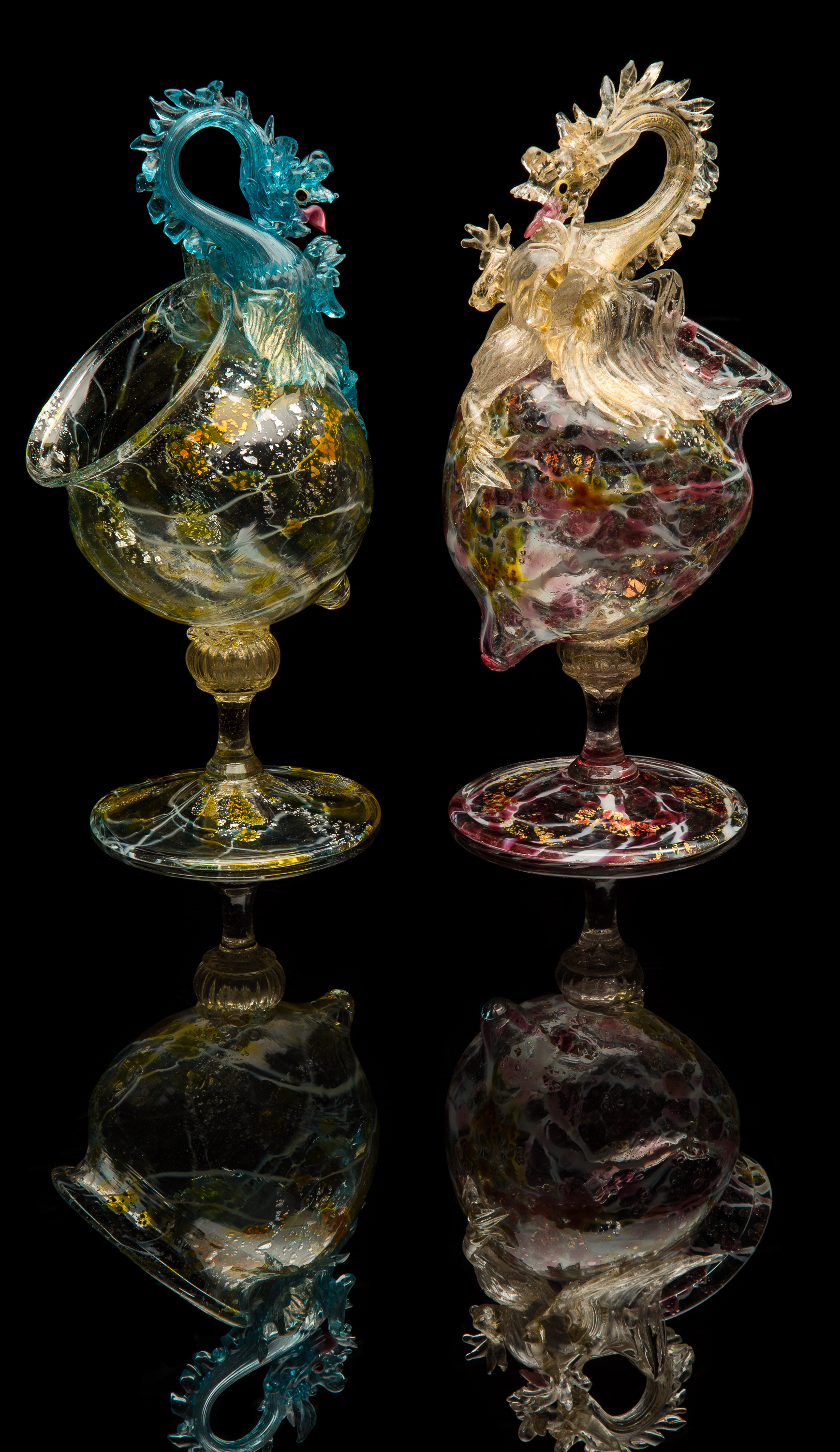 Fratelli Toso,  Multicolored Offset Standing Bowls with Dragons  (1880, glass, 12.25 inches), VV.774