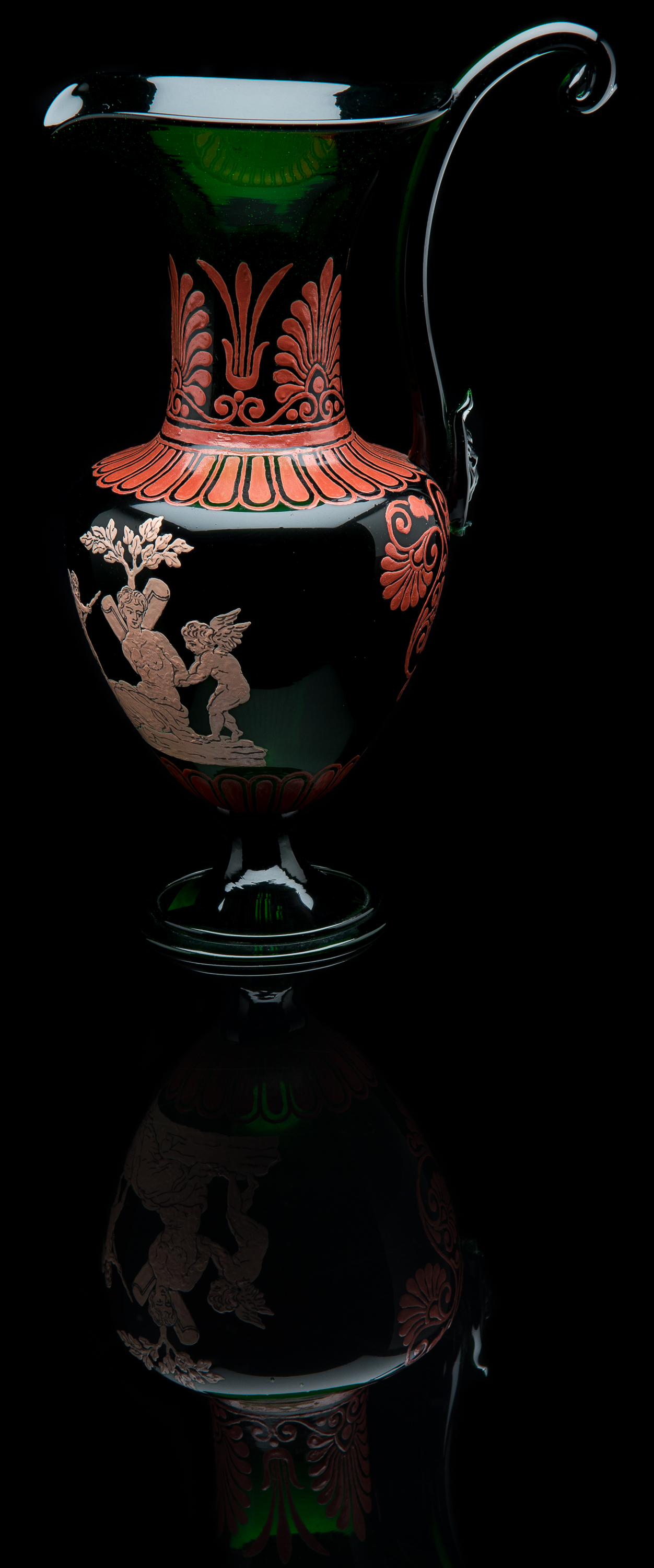Salviati and Company,  Green Ewer with Roman Style Enamel Decoration  (glass, 8.75 inches), VV.1017