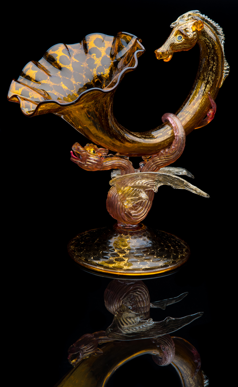 Salviati and Company,  Large Winged Dragon Cornucopia with Pegasus Head  (1885, glass, 10.25 inches), VV.1093