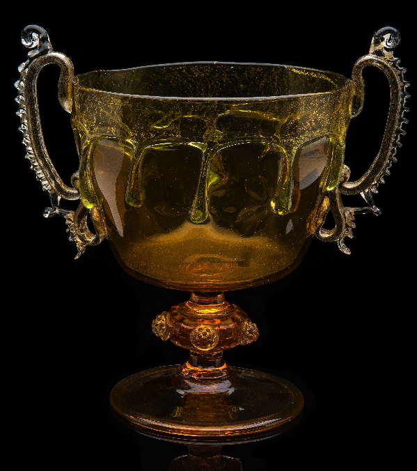 Venice and Murano Company,  Double Handled Amber Compote  (1877, glass, 8.25 inches), VV.457