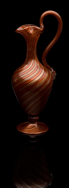 Salviati and Company,  Copper Aventurine Ewer  (1855, glass, 13 inches), VV.1084