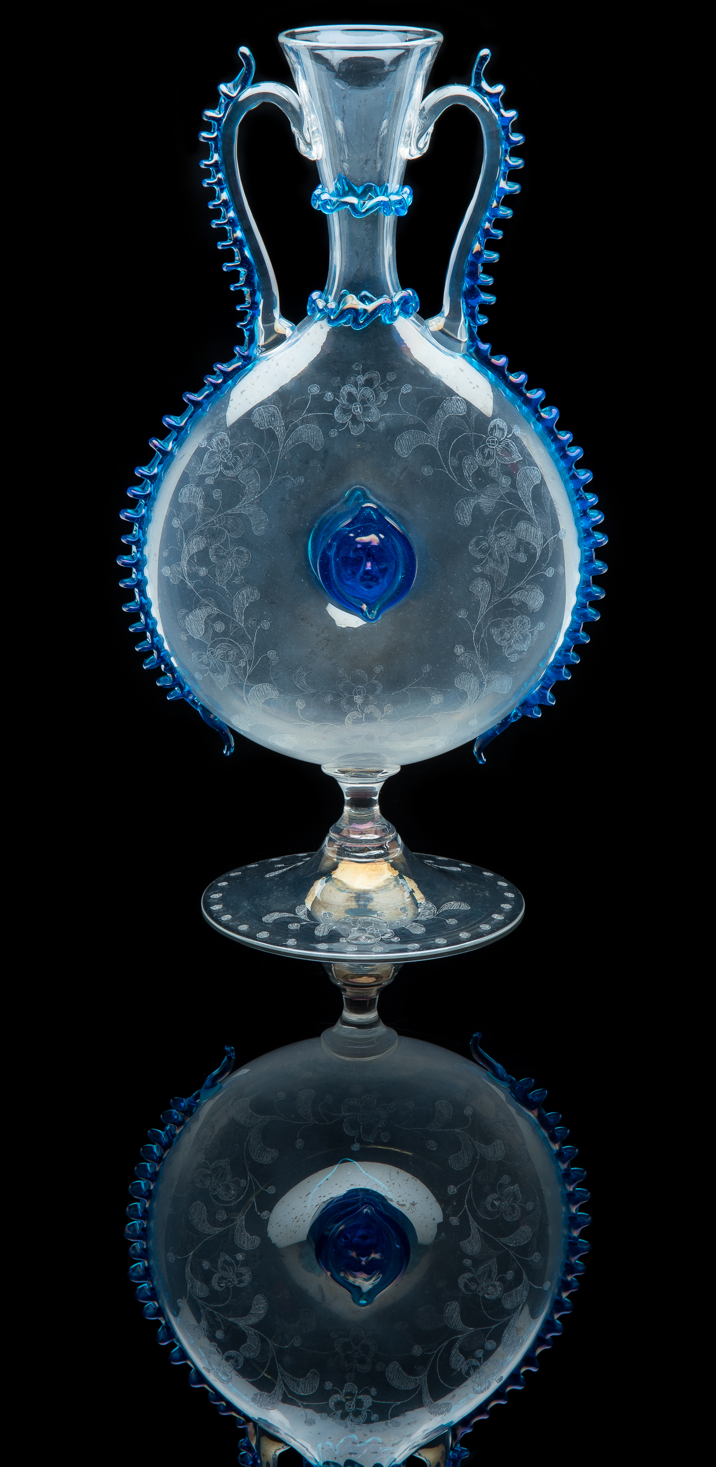 Salviati and Company,  Engraved Clear Vase with Cobalt Rigaree  (glass, 11 inches), VV.1114