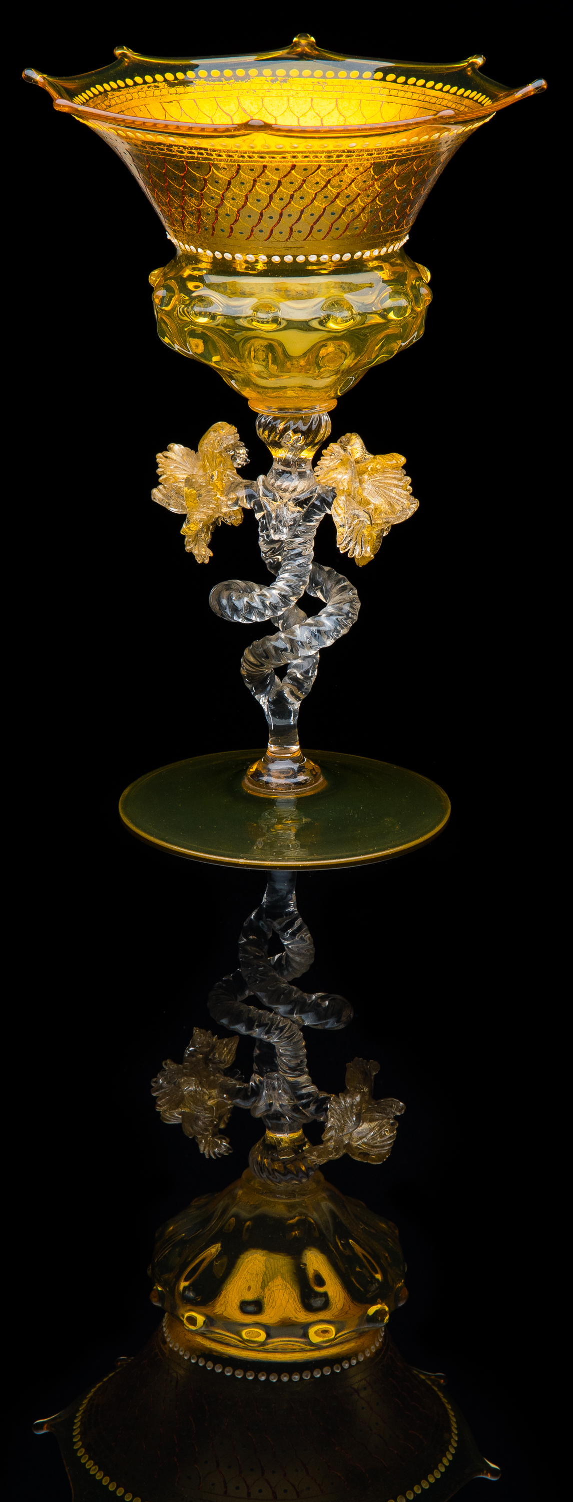 Salviati and Company,  Amber and Clear Goblet with Scalloped Rimmed Edge  (circa 1920, glass, 7 7/8 inches), VV.1115
