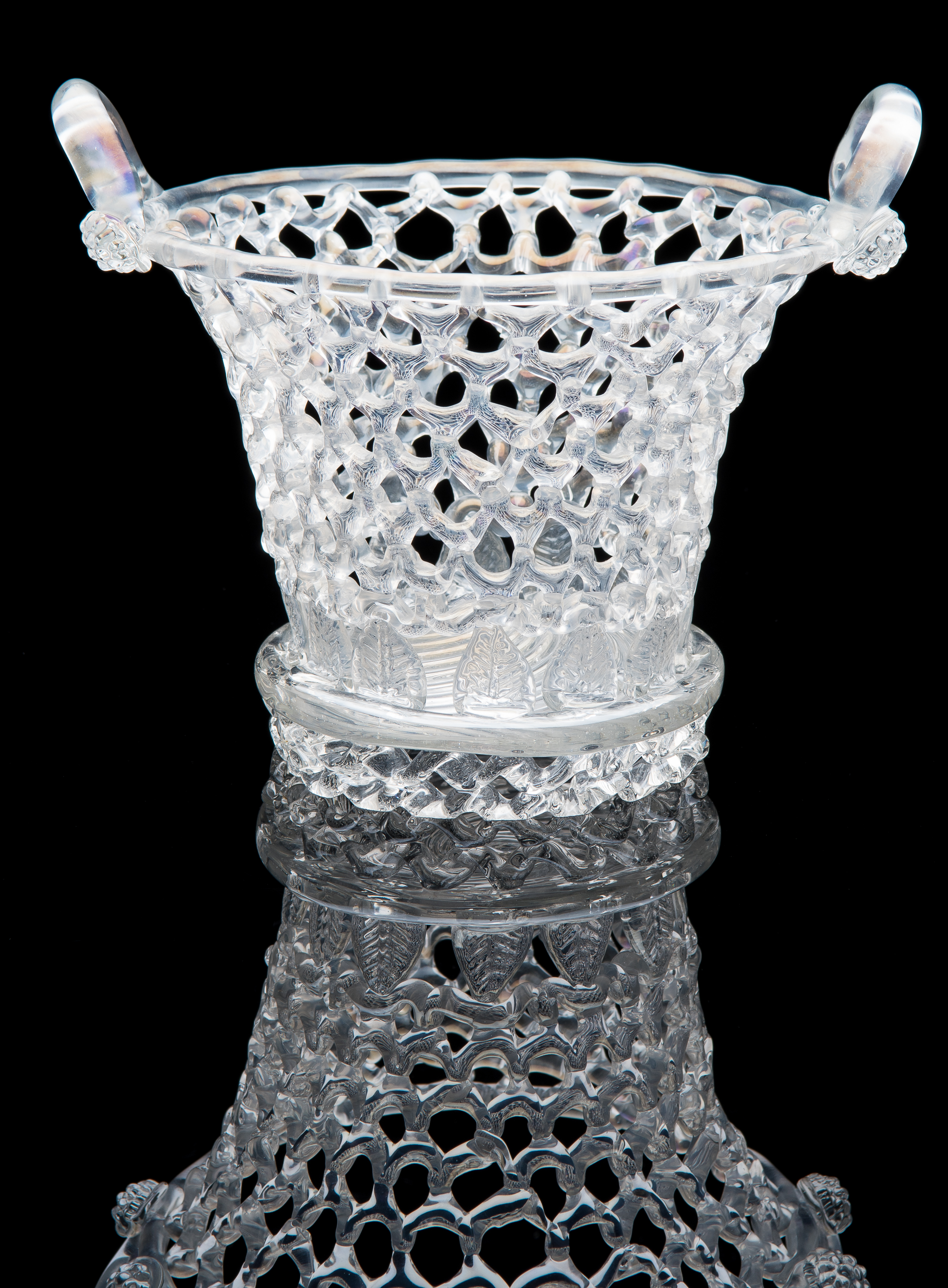 Barovier & Toso,  Clear Iridized Basket  (circa 1900, glass, 7.5 inches), VV.1137