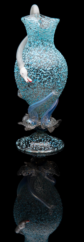 Salviati and Company,  Light Blue Granzioli Form with White Latticino Serpent Handle  (circa 1880, glass, 9.5 inches), VV.1172