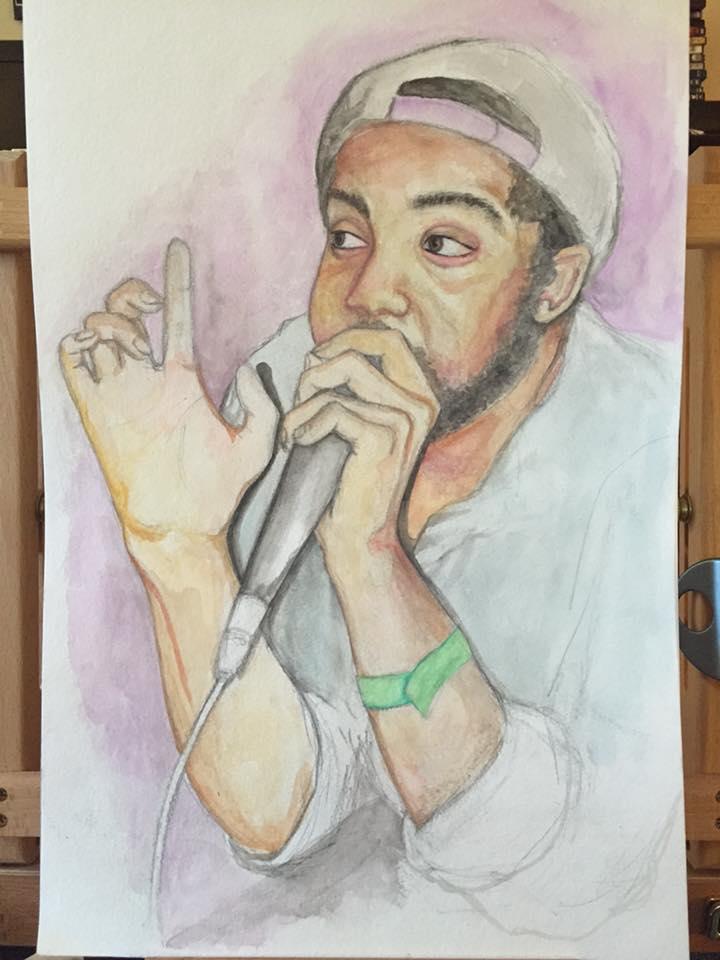 © 2016 Kat Phillips. Portrait. Watercolor.