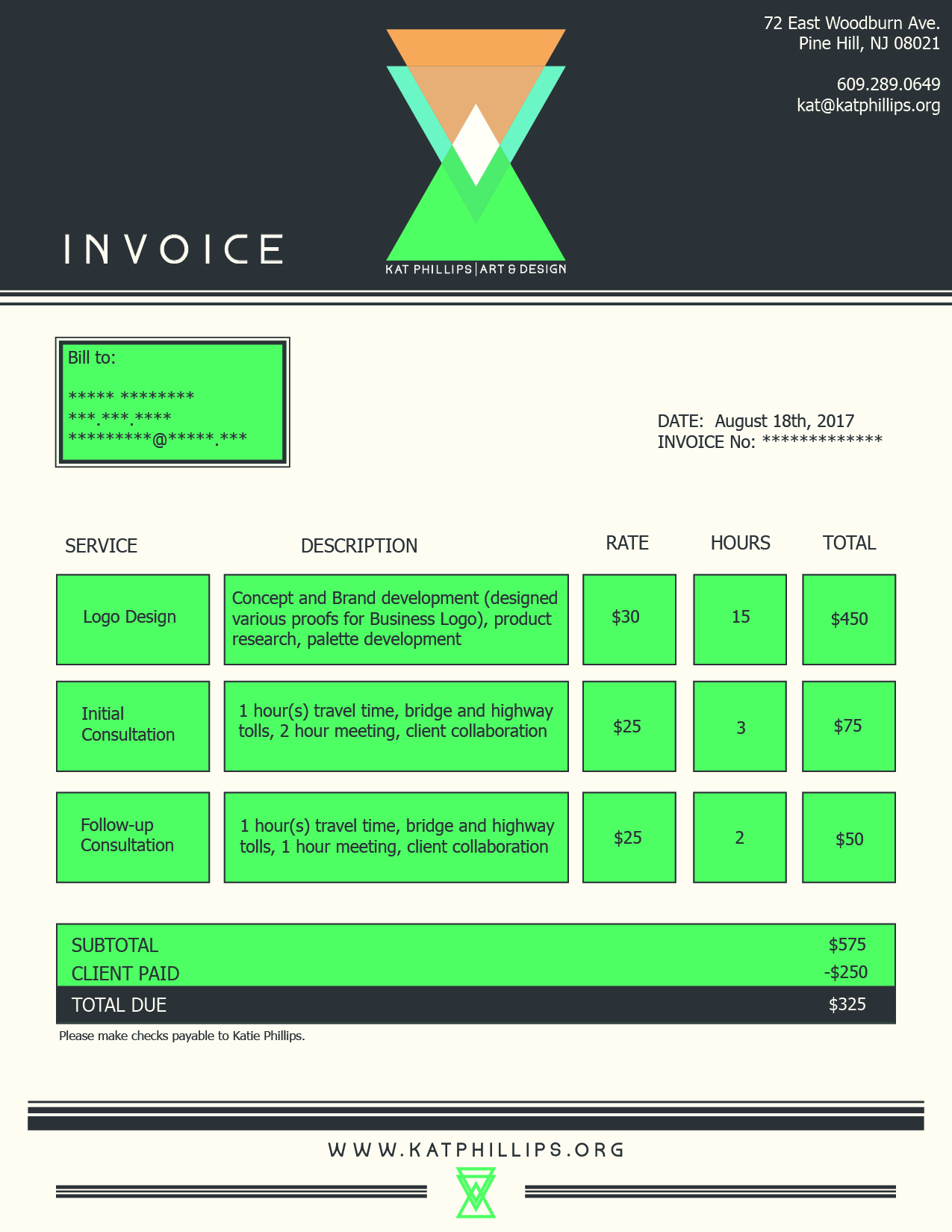 Kat Phillips Art & Design Invoice Layout