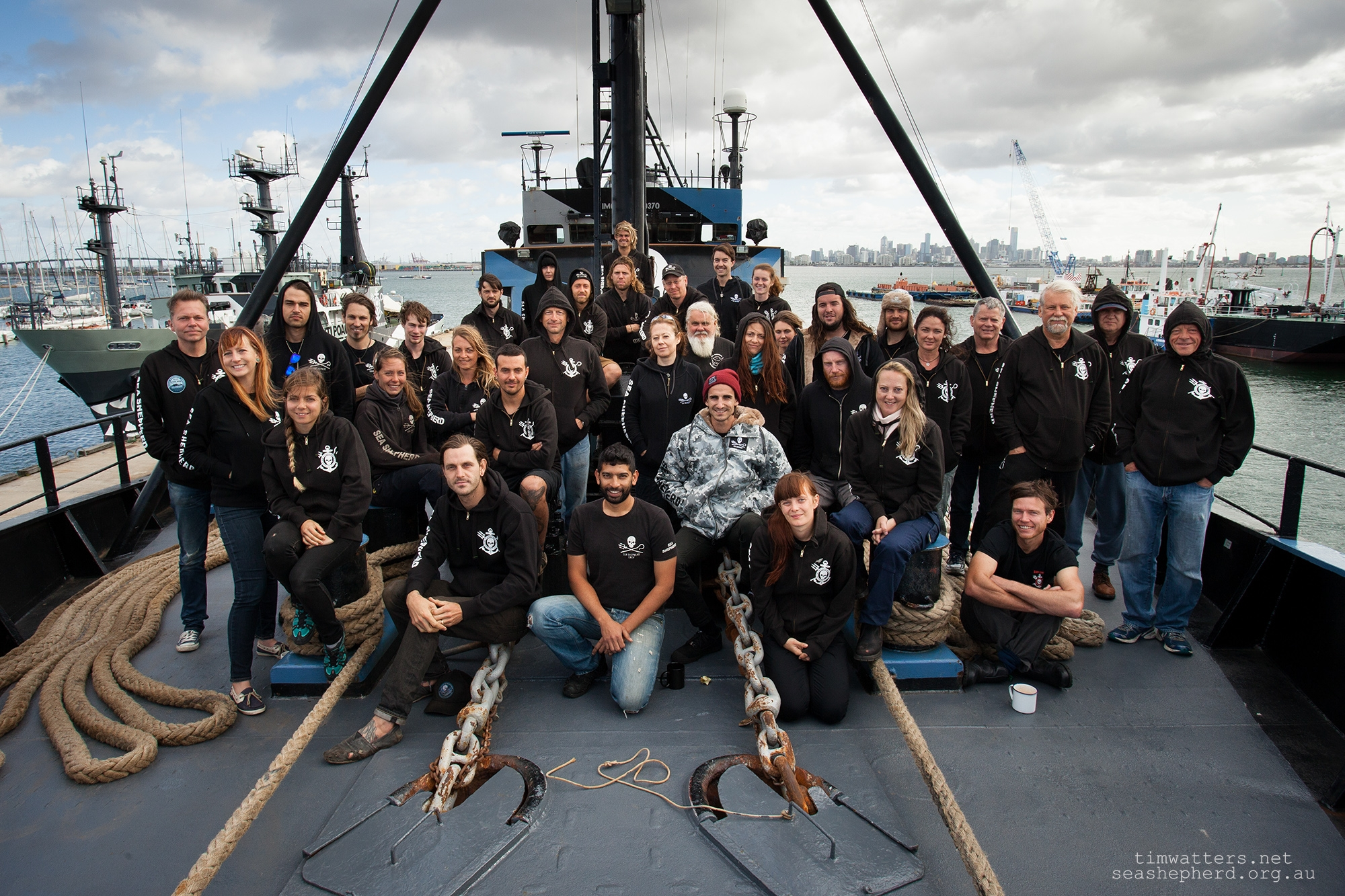 The crew of the M/Y Steve Irwin prior to departure to Antarctica - December 2013.
