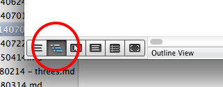 The outline view button in MS Word for Mac 2011