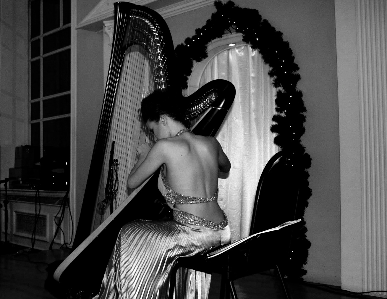 play harp at events