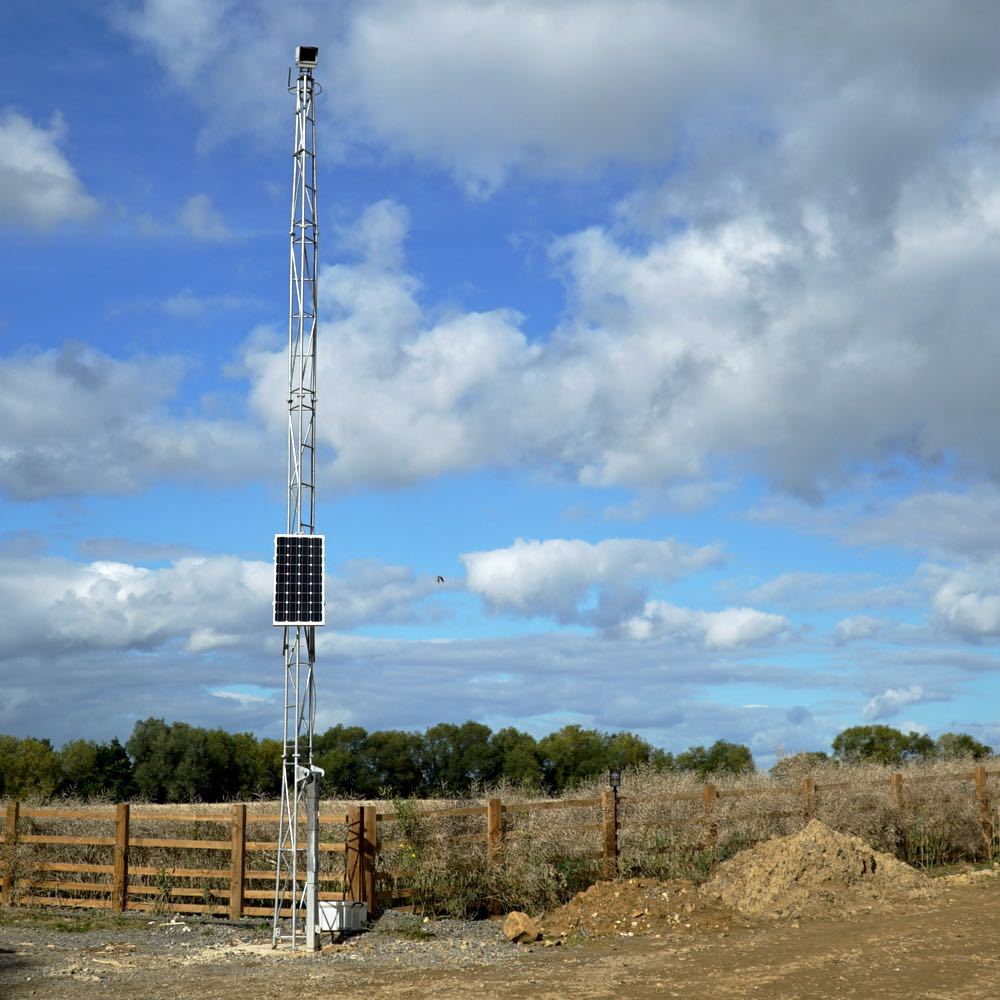 Our 10-metre tilt-over tower, shown with permanent solar power