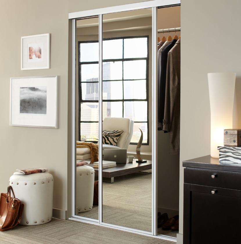 Mirrored Closet Doors, White Mirror Sliding Closet Door
