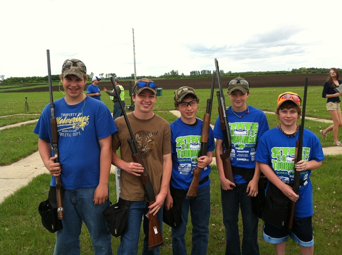 Members of the State Trap Team who competed last weekend: Drew Killian, Jacob Goeden, Matt Goeden,Chris Hahn, and Bryce Cooper