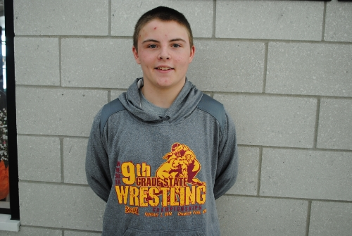 Wadena-Deer Creek freshman wrestler Blaine Snyder recently competed in the Minnesota 9th Grade State Wrestling Tournament in Champlin Park where he finished in seventh place. (Photo by Dana Pavek, WDC Schools)